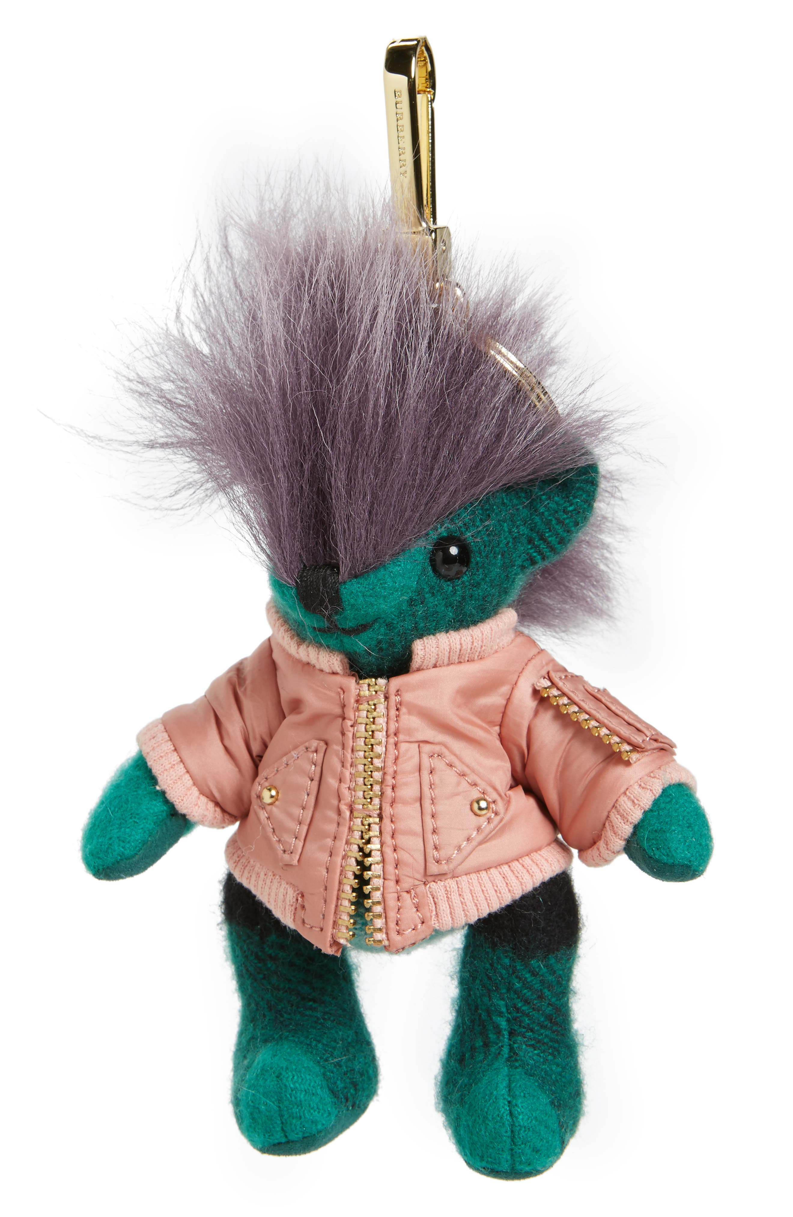 Thomas Bear Cashmere & Genuine Shearling Bag Charm,                         Main,                         color, Emerald Green