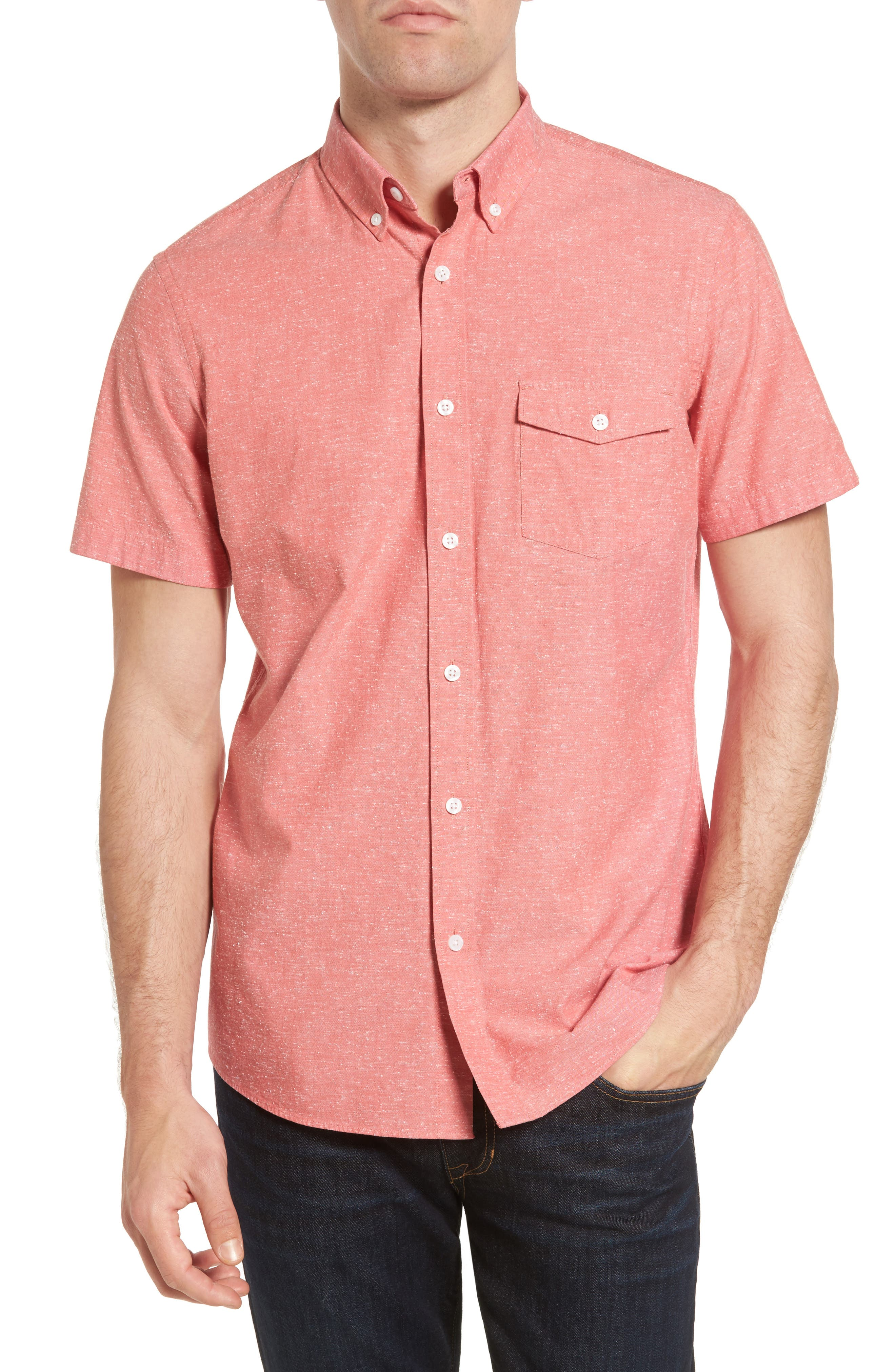 NORDSTROM MENS SHOP Trim Fit Chambray Sport Shirt