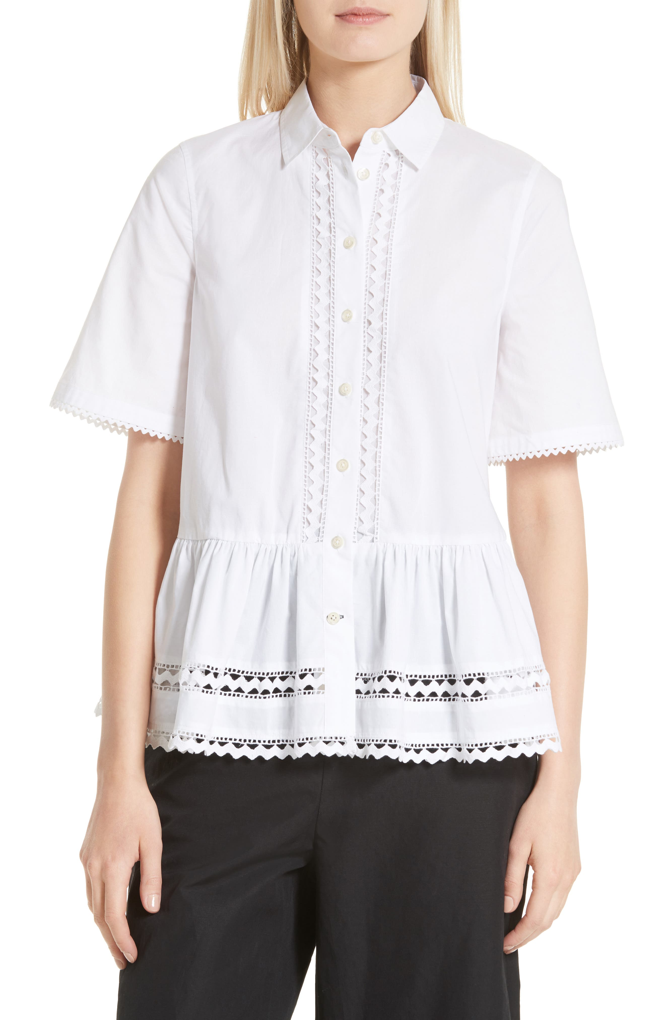 Alternate Image 1 Selected - kate spade new york lace inset peplum top