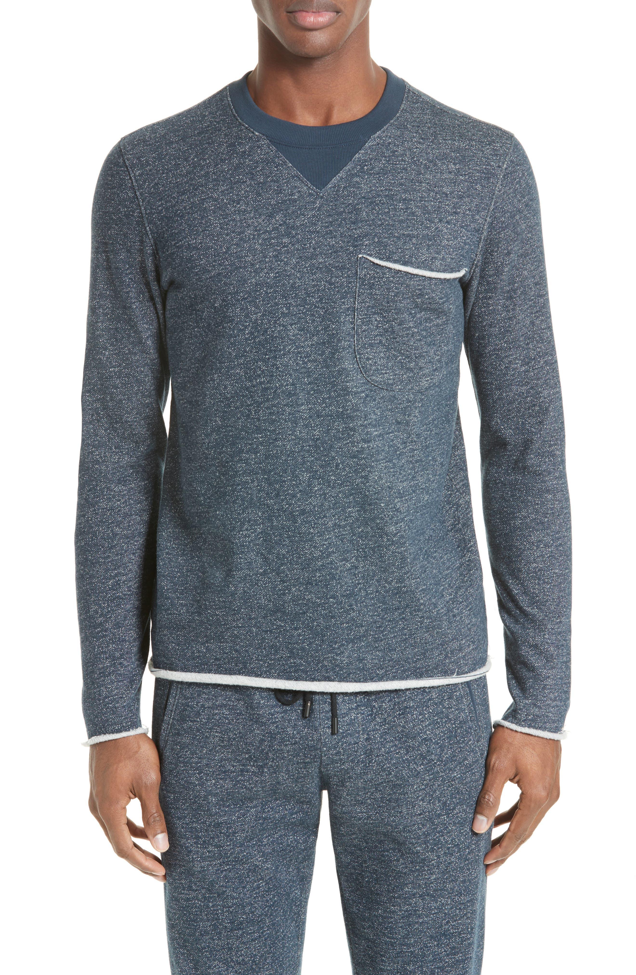 Raw Cut Terry Sweatshirt,                         Main,                         color, Navy/ Ivory
