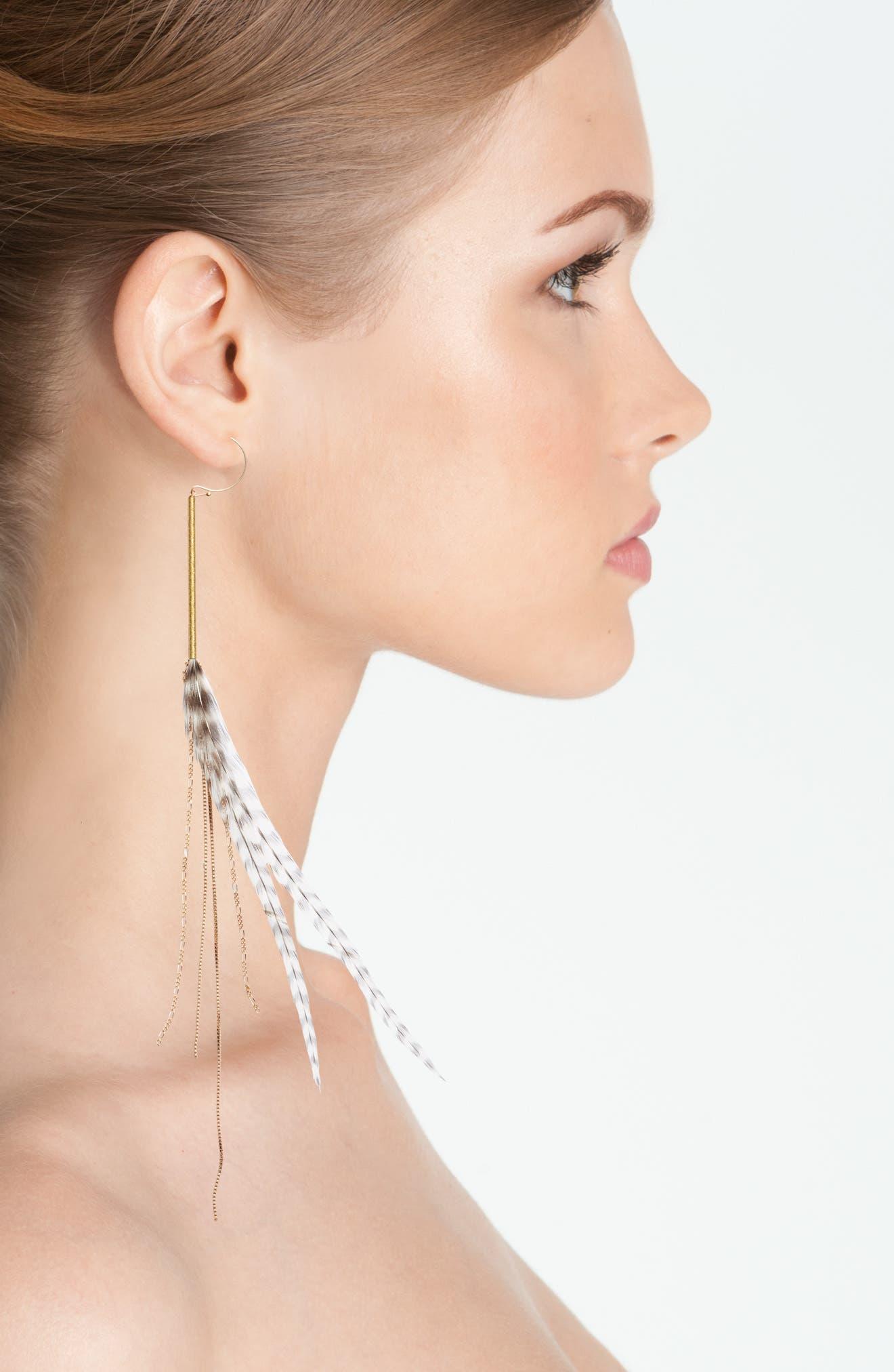 Alternate Image 2  - Serefina Stripe Feather Drop Earrings
