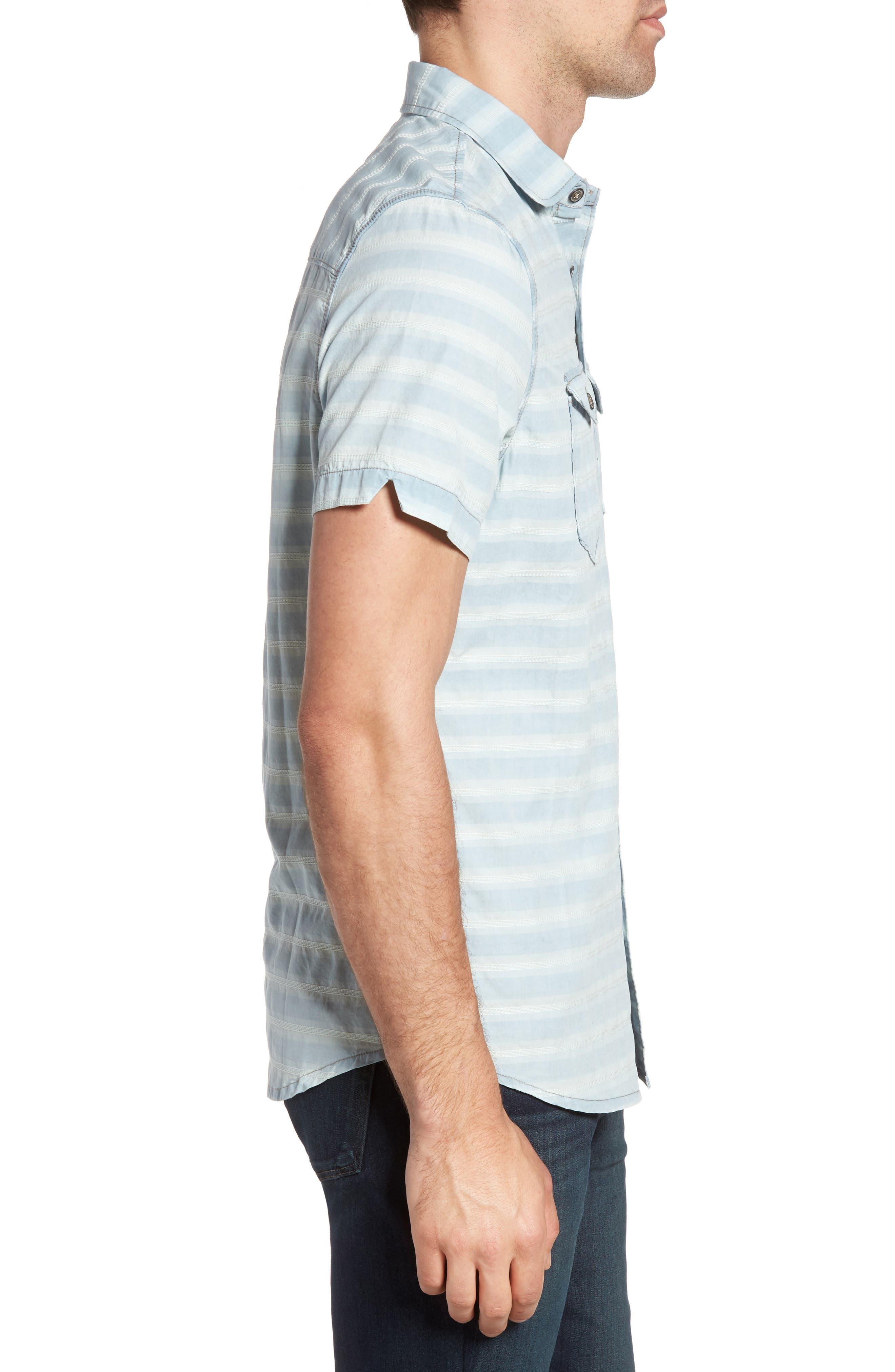 Abbott Regular Fit Dobby Stripe Sport Shirt,                             Alternate thumbnail 3, color,                             Cloud