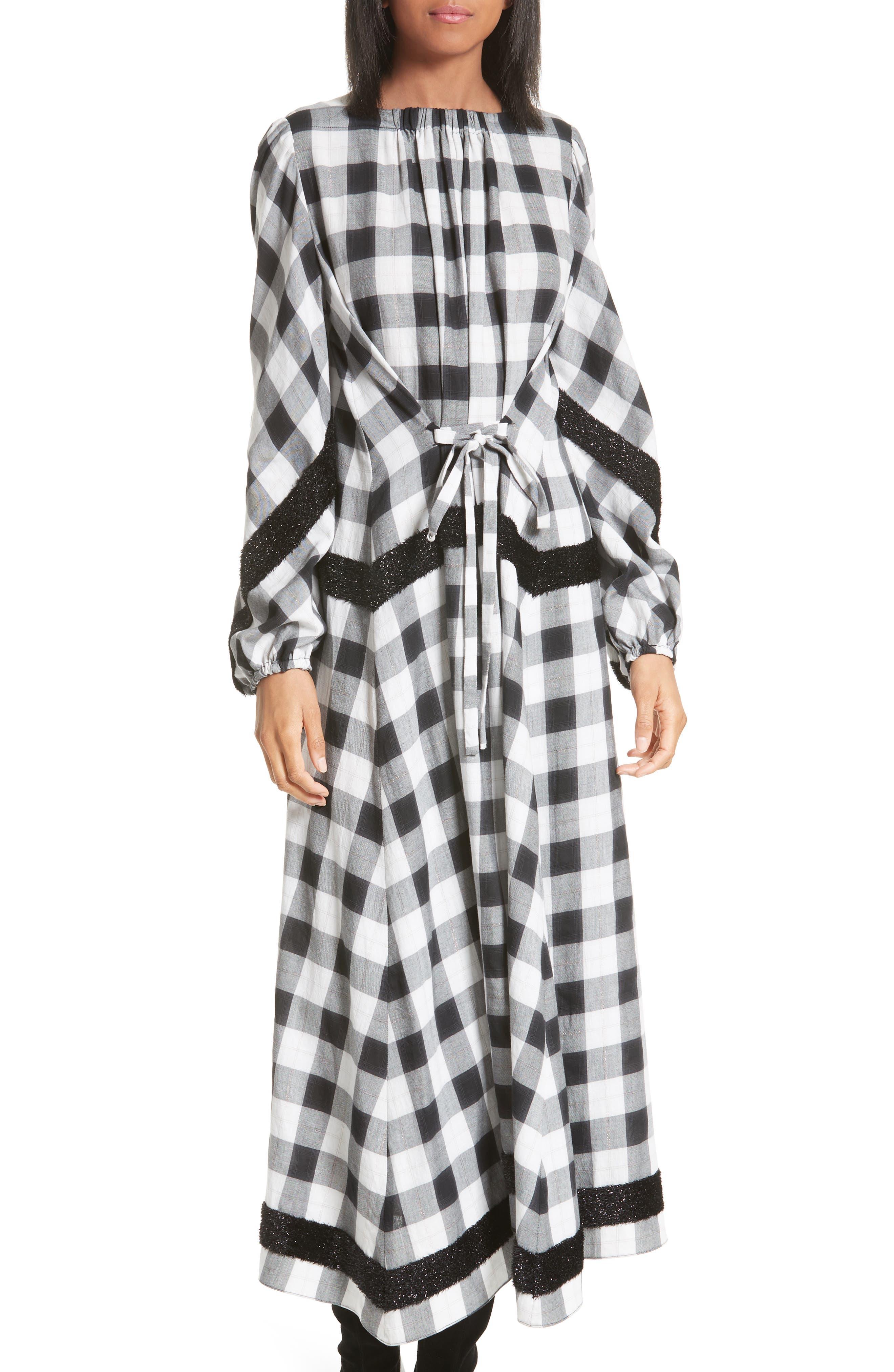 Tibi Bouclé Trim Plaid Maxi Dress