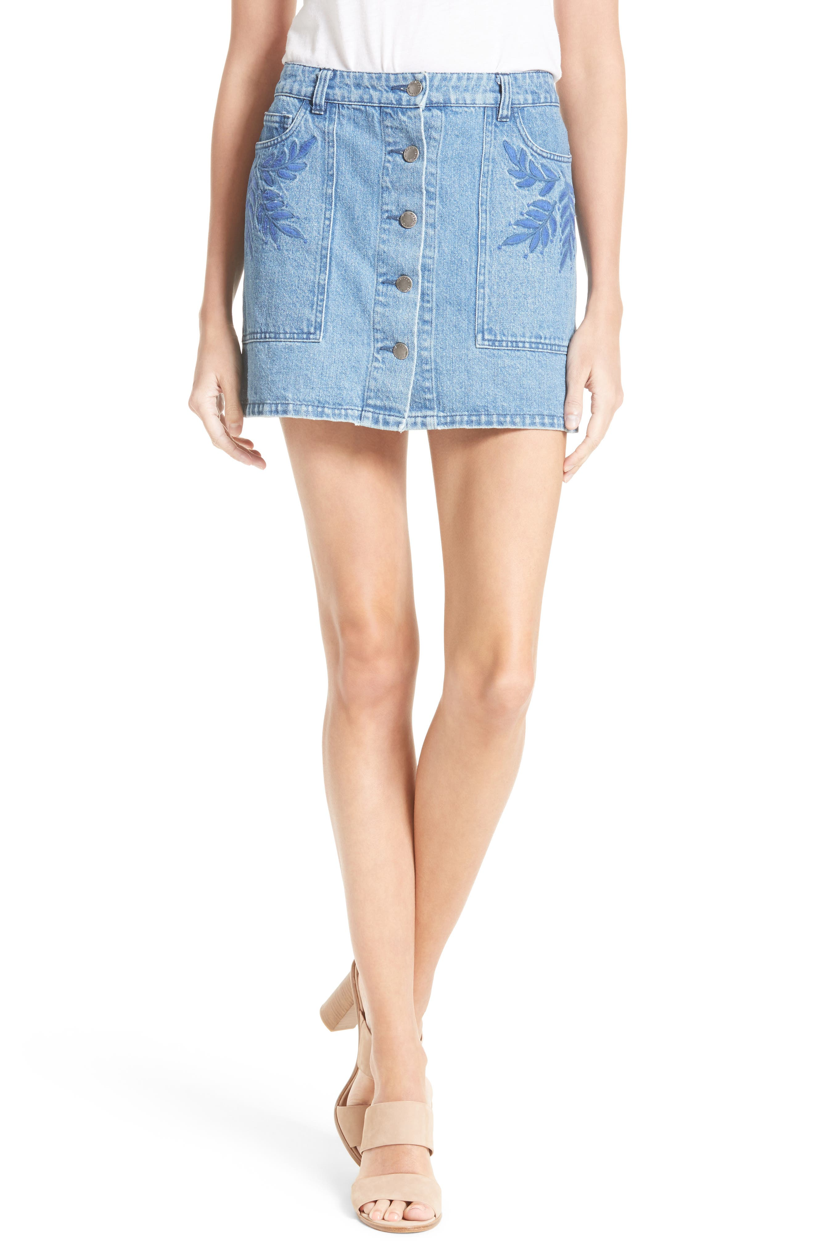 Rebecca Minkoff Rufus Embroidered Denim Miniskirt