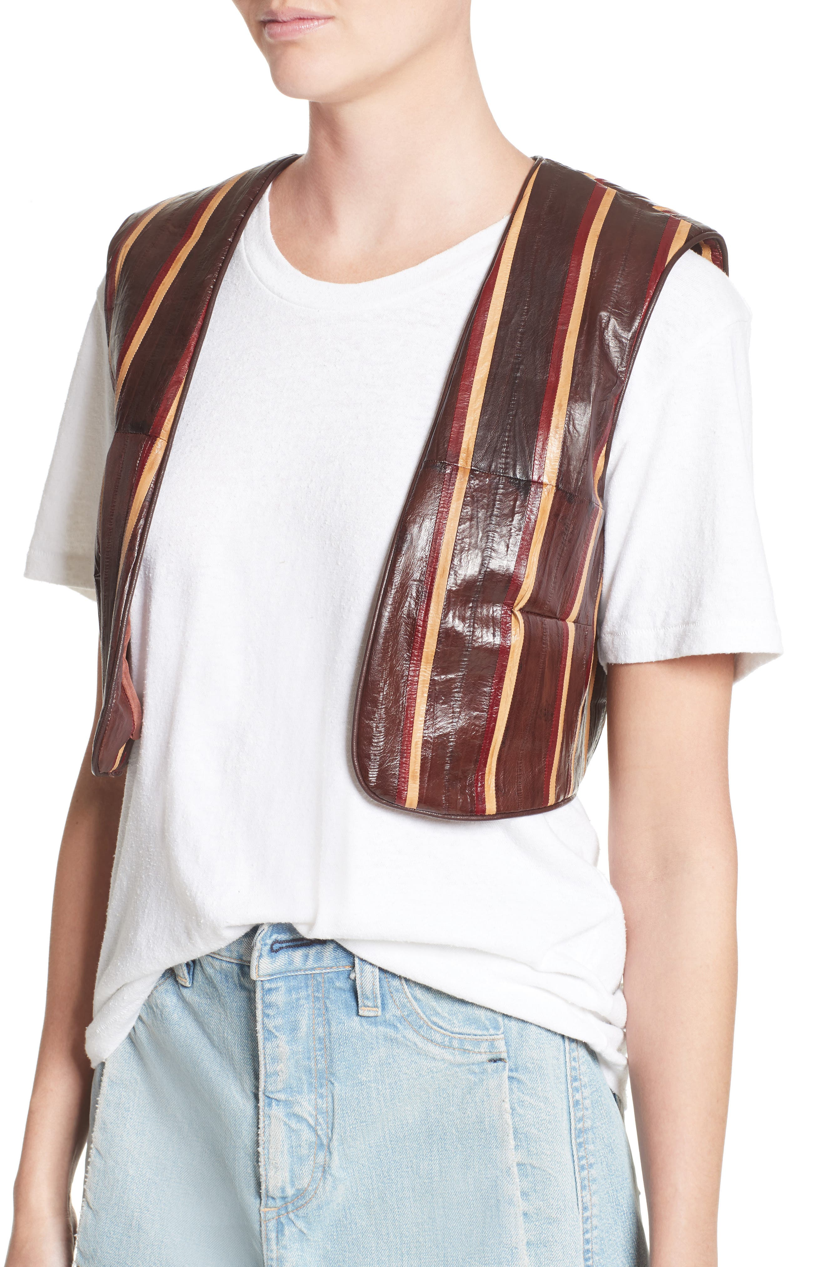 Striped Genuine Eelskin Vest,                             Alternate thumbnail 6, color,                             Oxblood