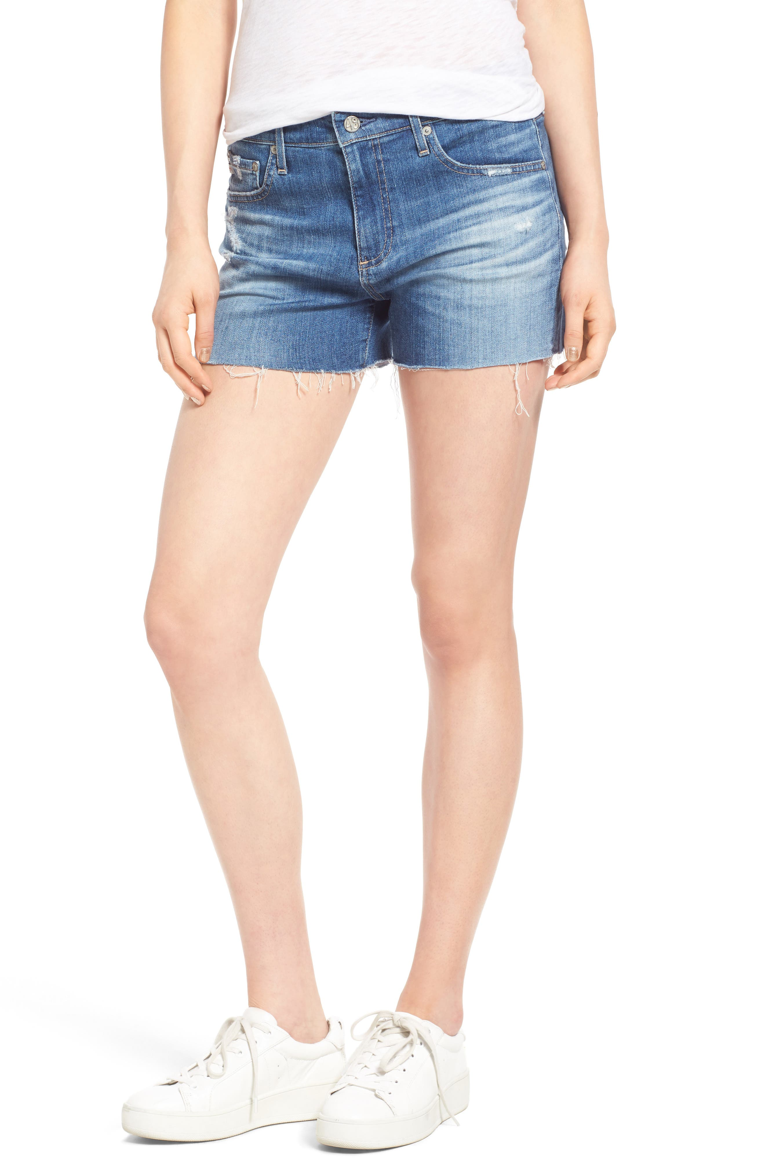 AG Hailey High Waist Cutoff Denim Shorts (15 Years Boundless)