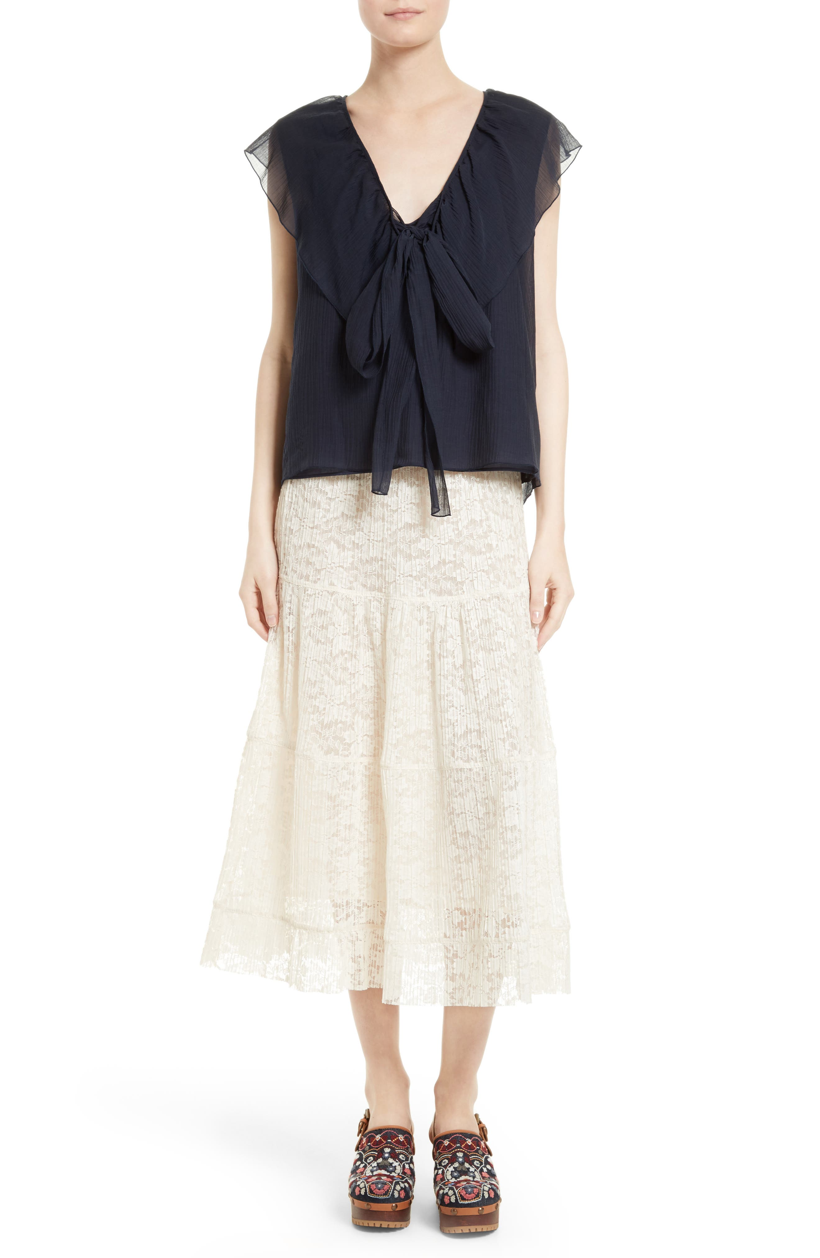 Alternate Image 2  - See by Chloé Cotton & Silk Ruffle Top