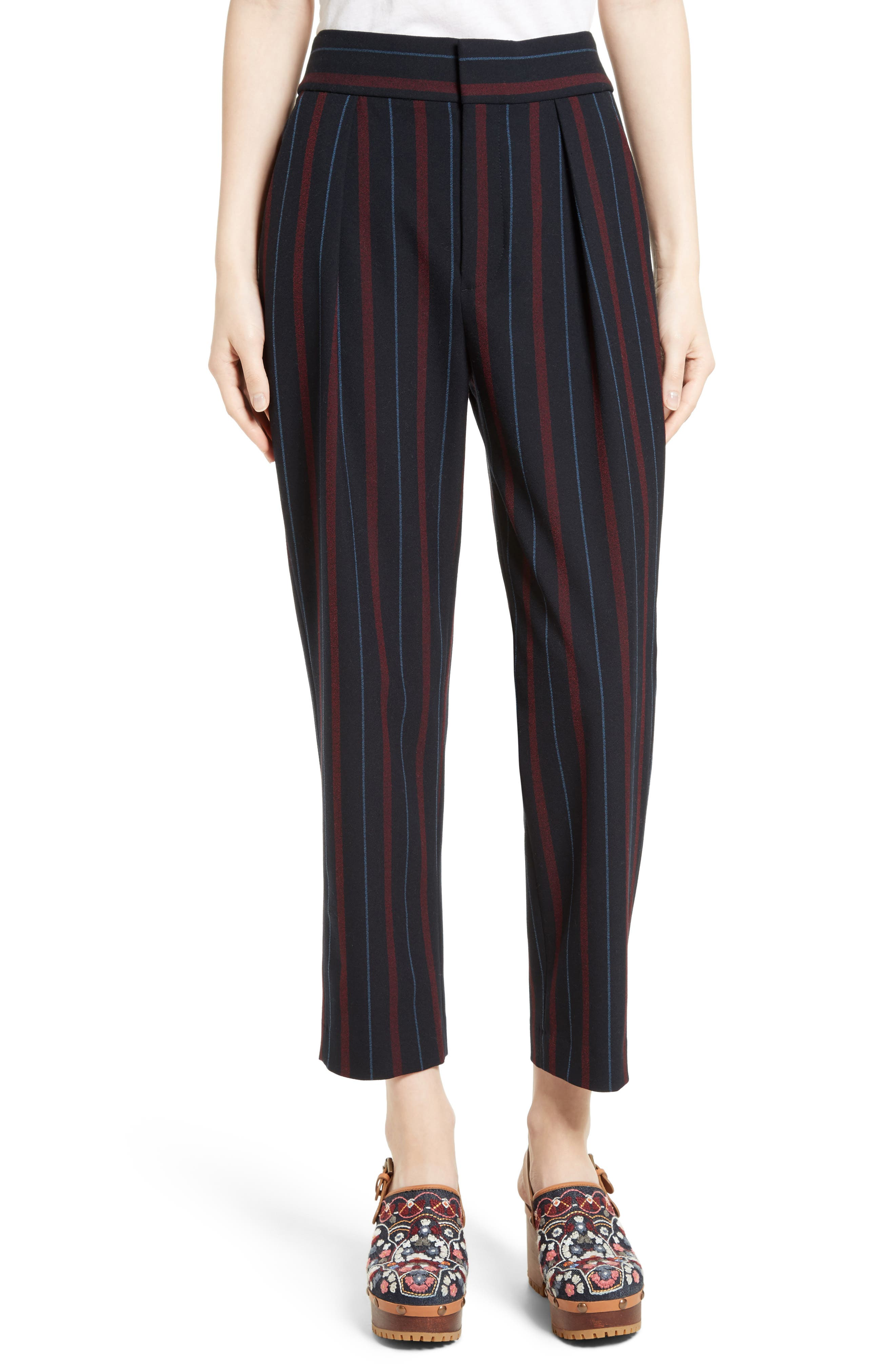Main Image - See by Chloé Stripe Straight Leg Trousers