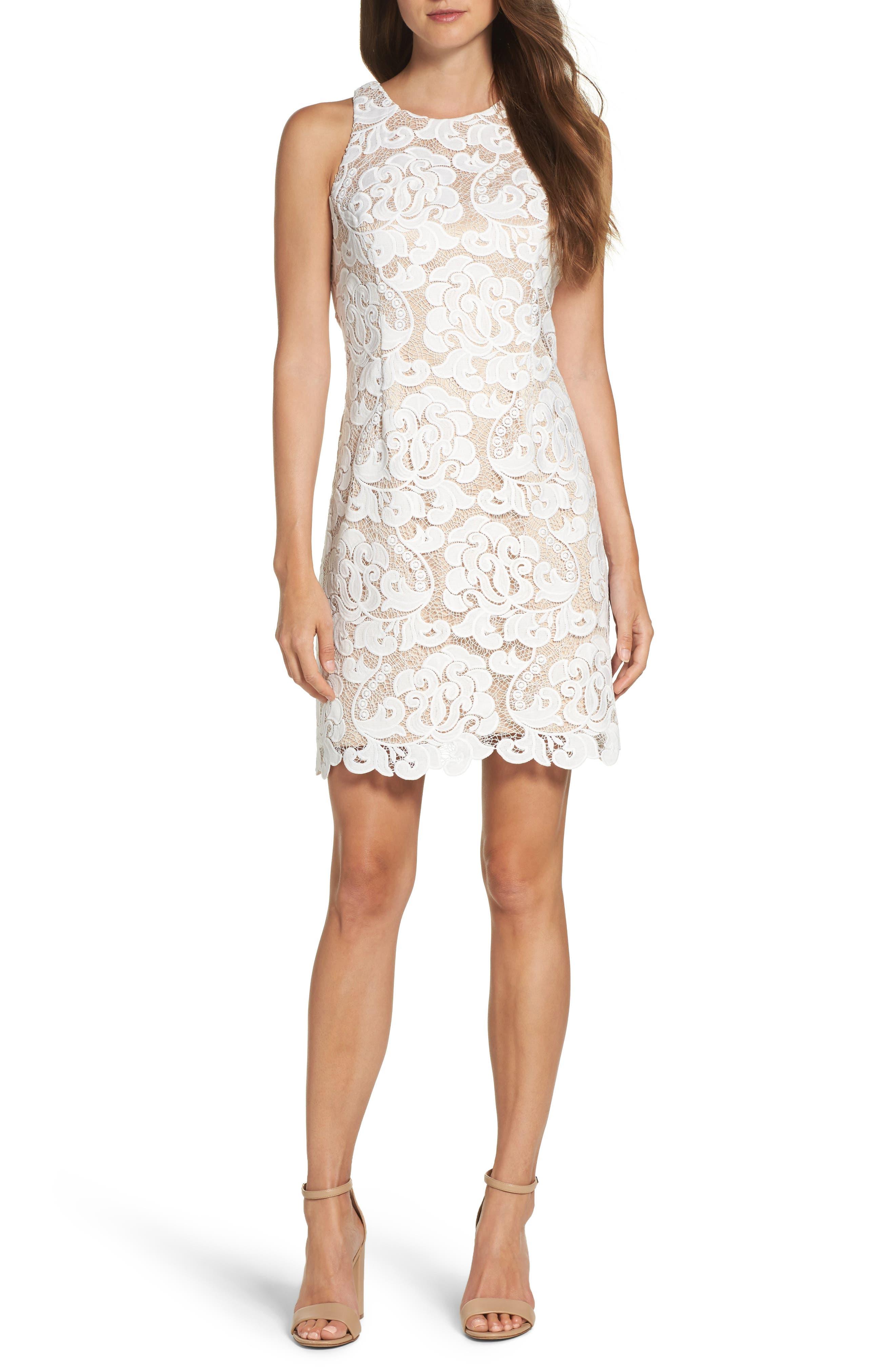 Lace Sheath Dress,                             Alternate thumbnail 4, color,                             Ivory