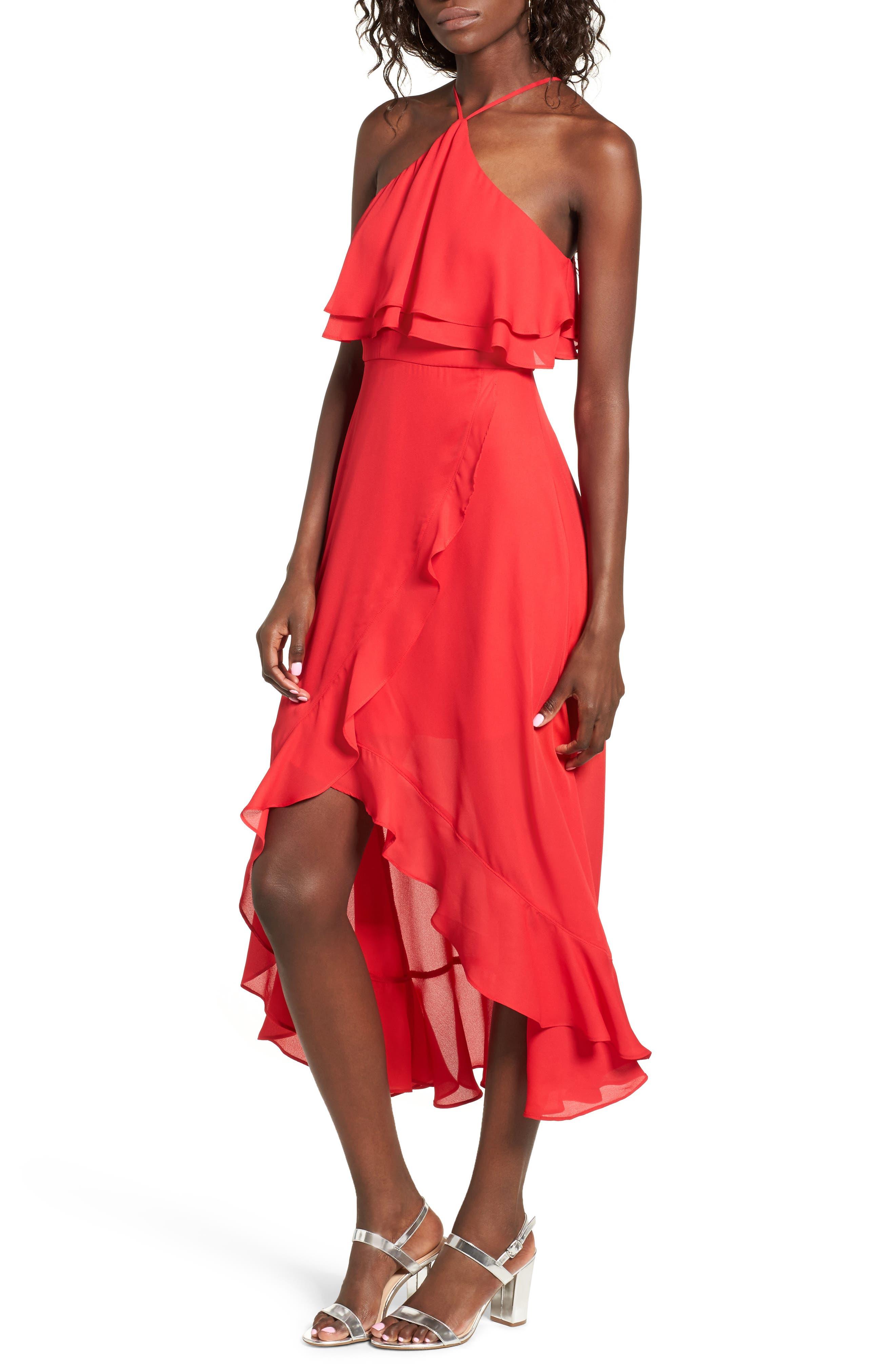 Main Image - Dee Elly Ruffle Halter Midi Dress