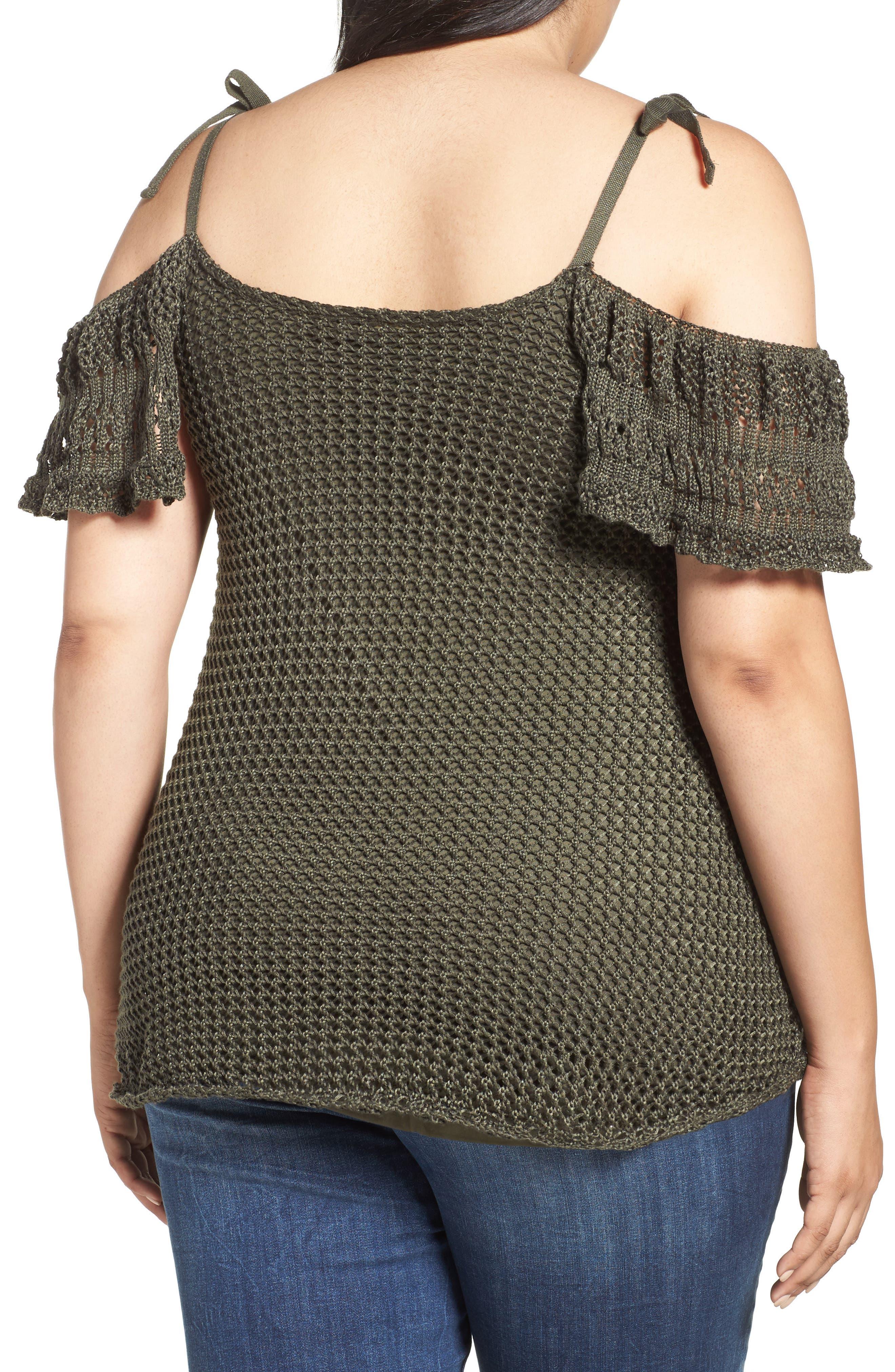 Crochet Cold Shoulder Top,                             Alternate thumbnail 3, color,                             Khaki