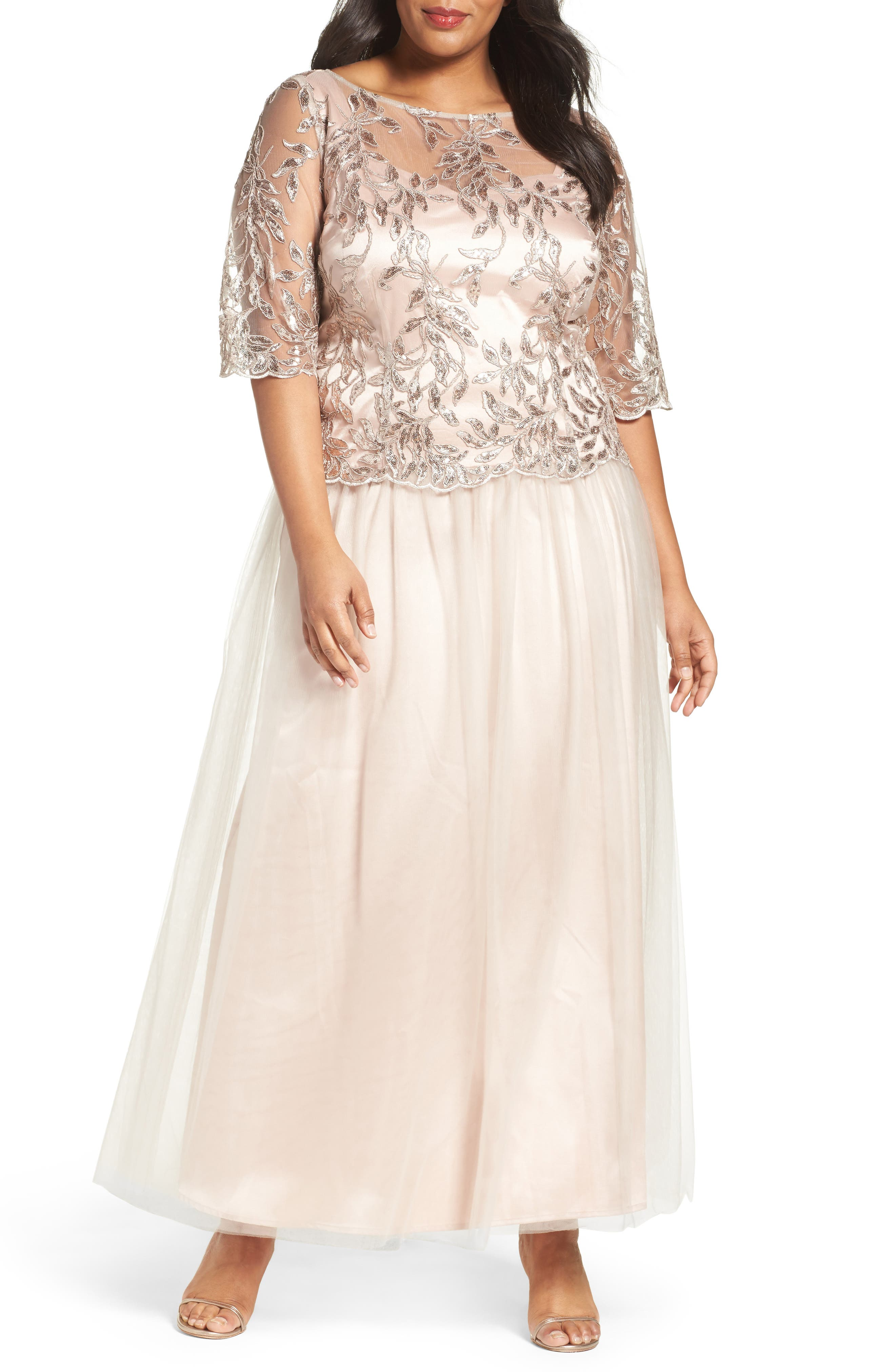 Embellished Mesh Gown,                         Main,                         color, Champagne