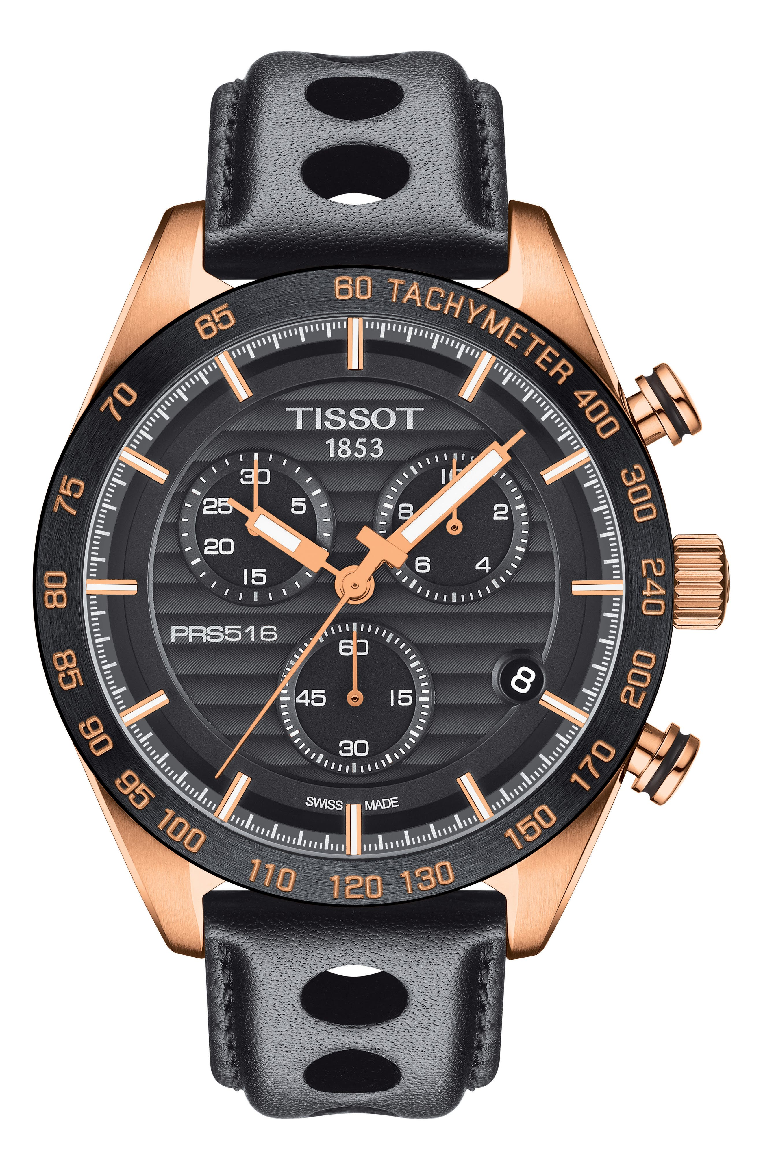 PRS 516 Chronograph Leather Strap Watch, 42mm,                             Main thumbnail 1, color,                             Black/ Rose Gold