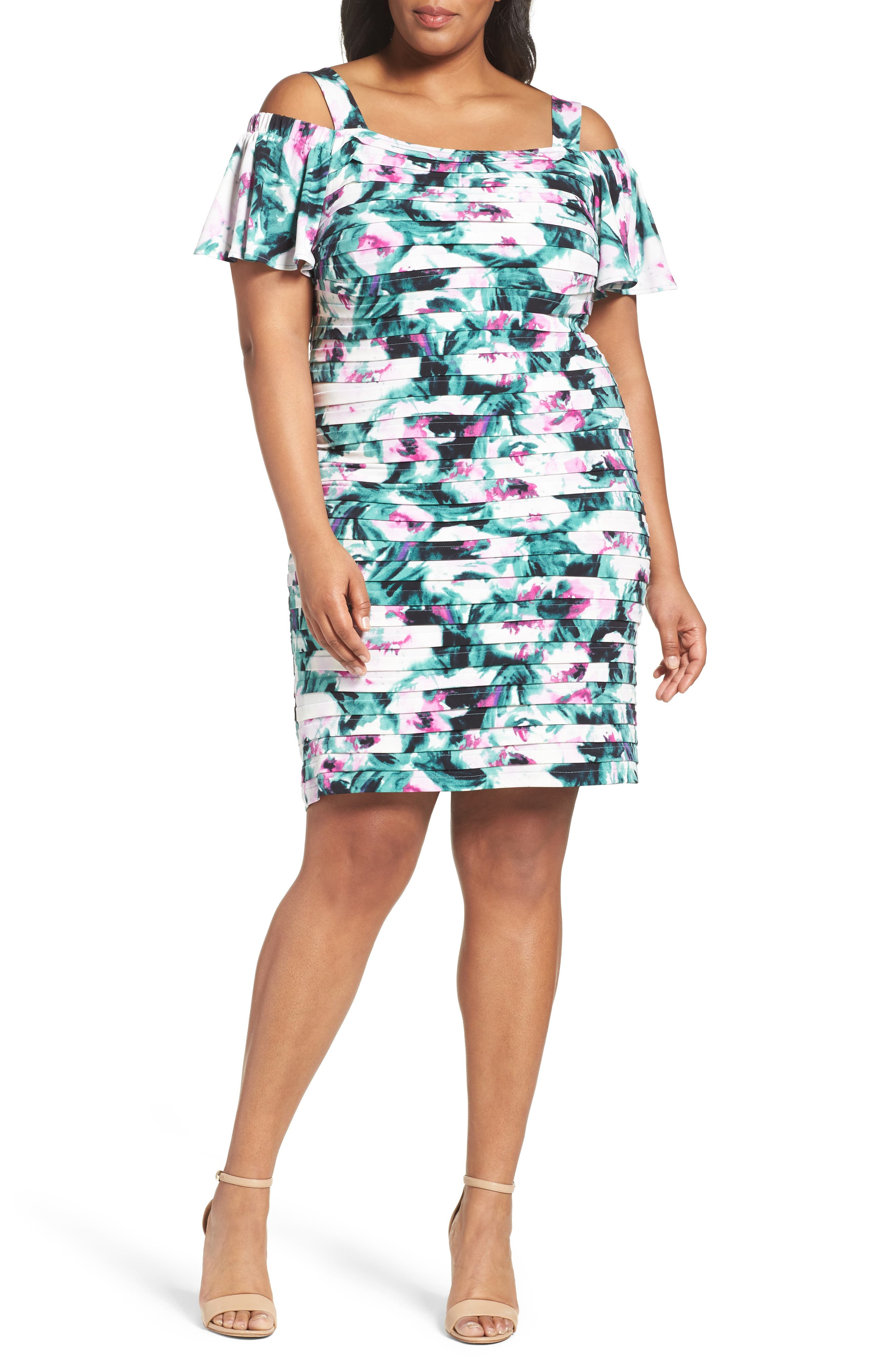 London Times Cold Shoulder Shutter Pleat Sheath Dress (Plus Size)
