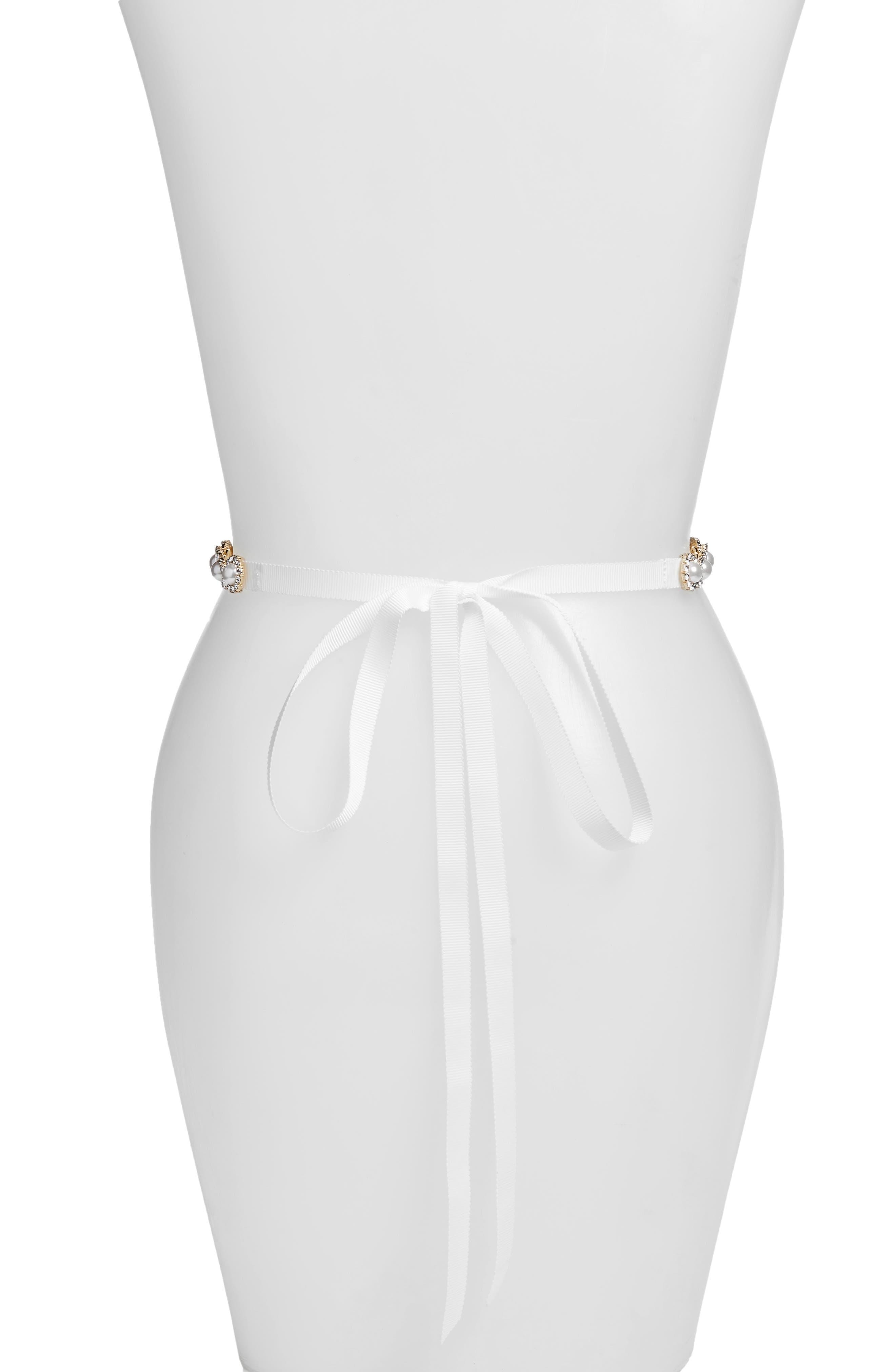 imitation pearl & crystal belt,                             Alternate thumbnail 2, color,                             Bridal Cream