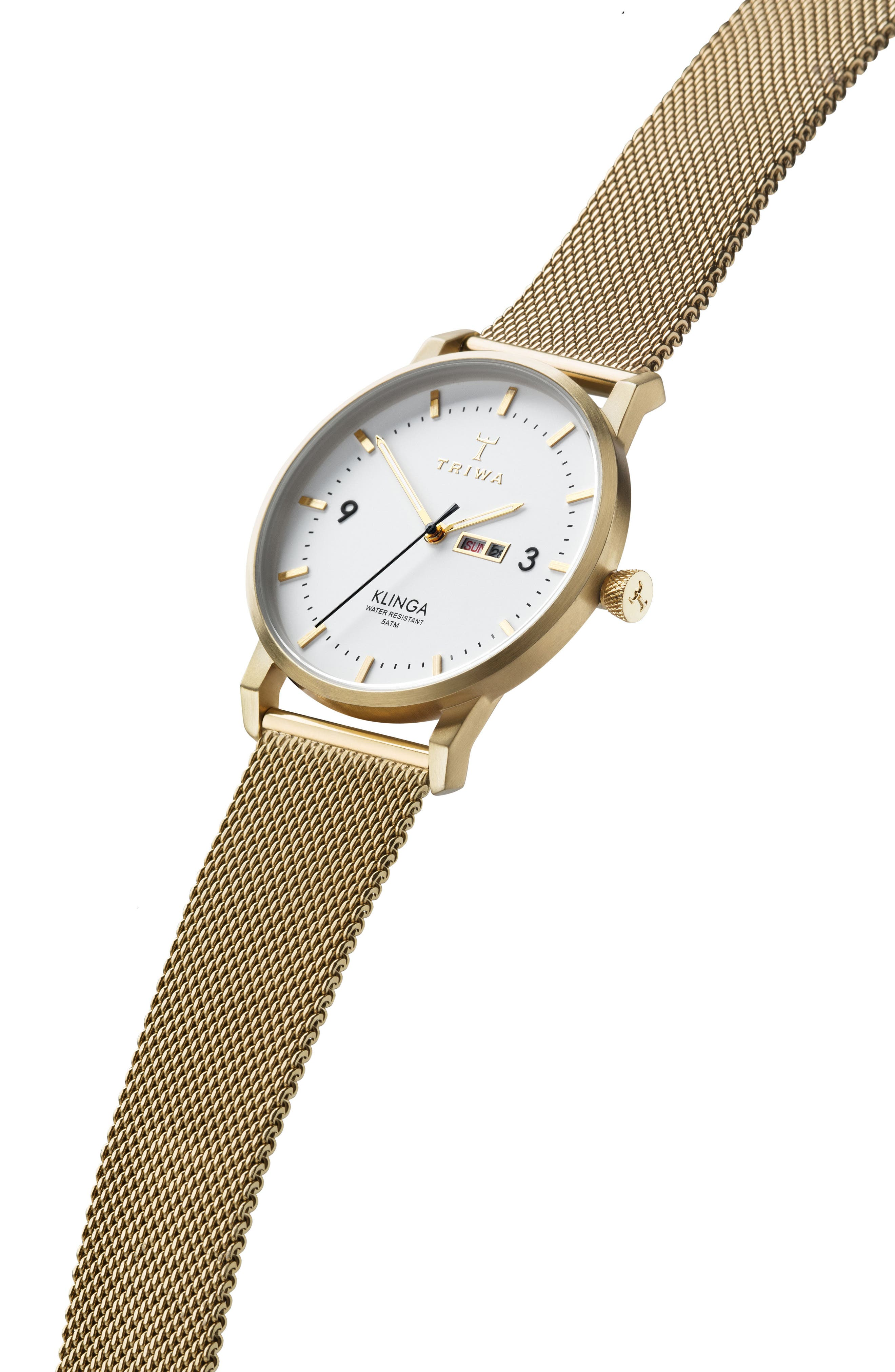 Ivory Klinga Gold Mesh Strap Watch, 38mm,                             Alternate thumbnail 3, color,                             Gold/ White/ Gold