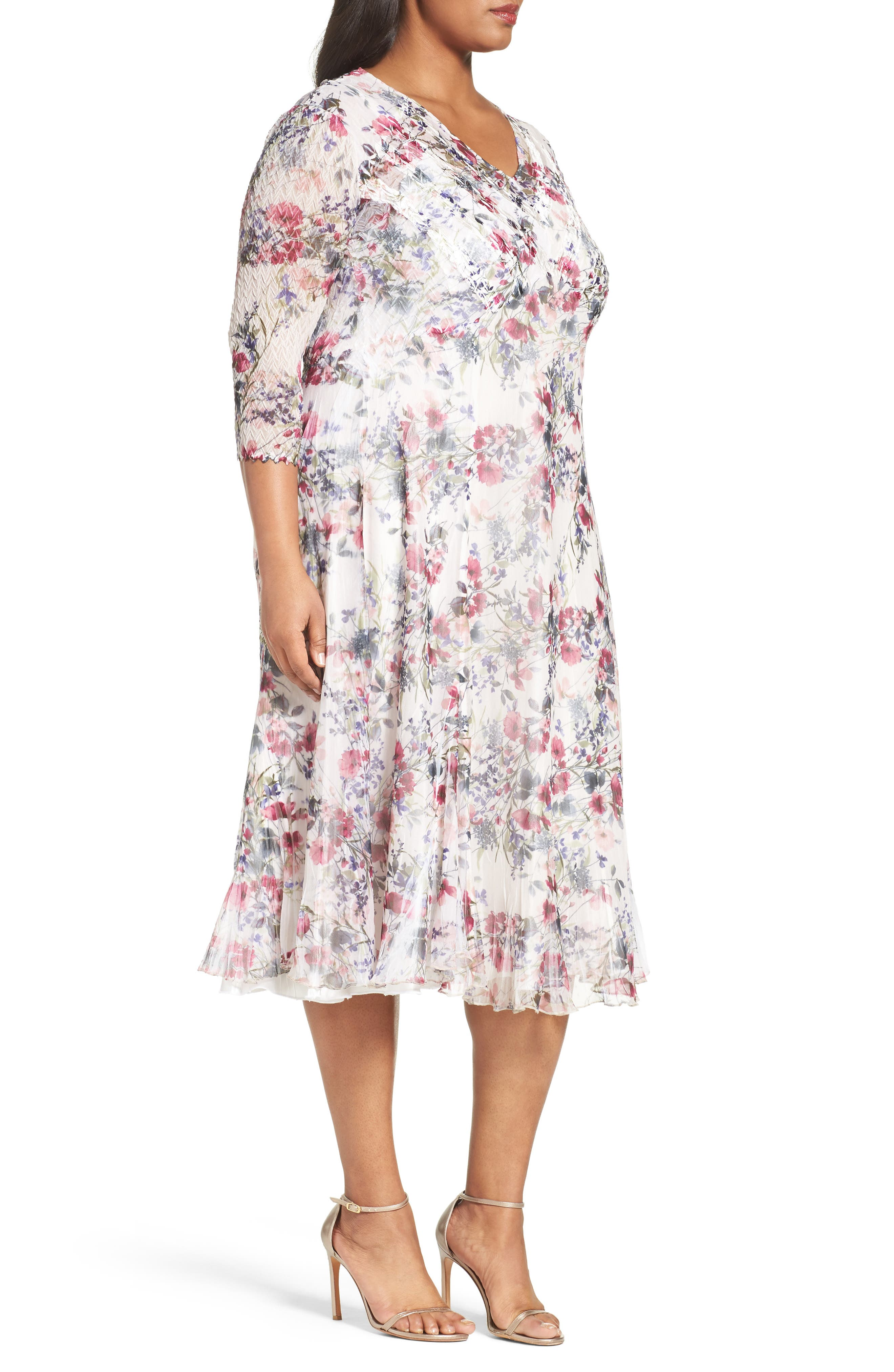 Print Chiffon Midi Dress,                             Alternate thumbnail 3, color,                             Wildflower Fields