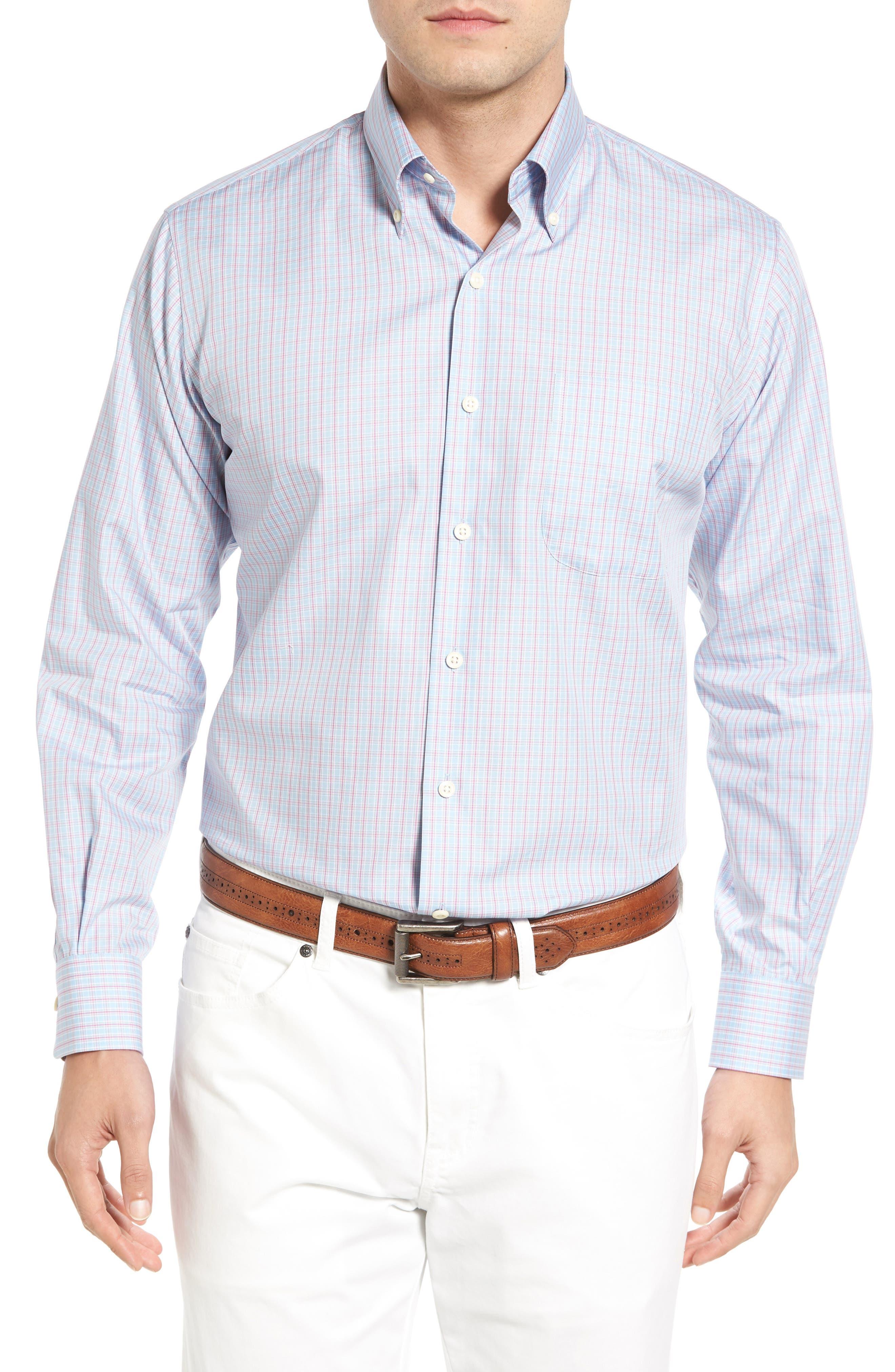 Temple Regular Fit Check Sport Shirt,                         Main,                         color, Tar Heel Blue