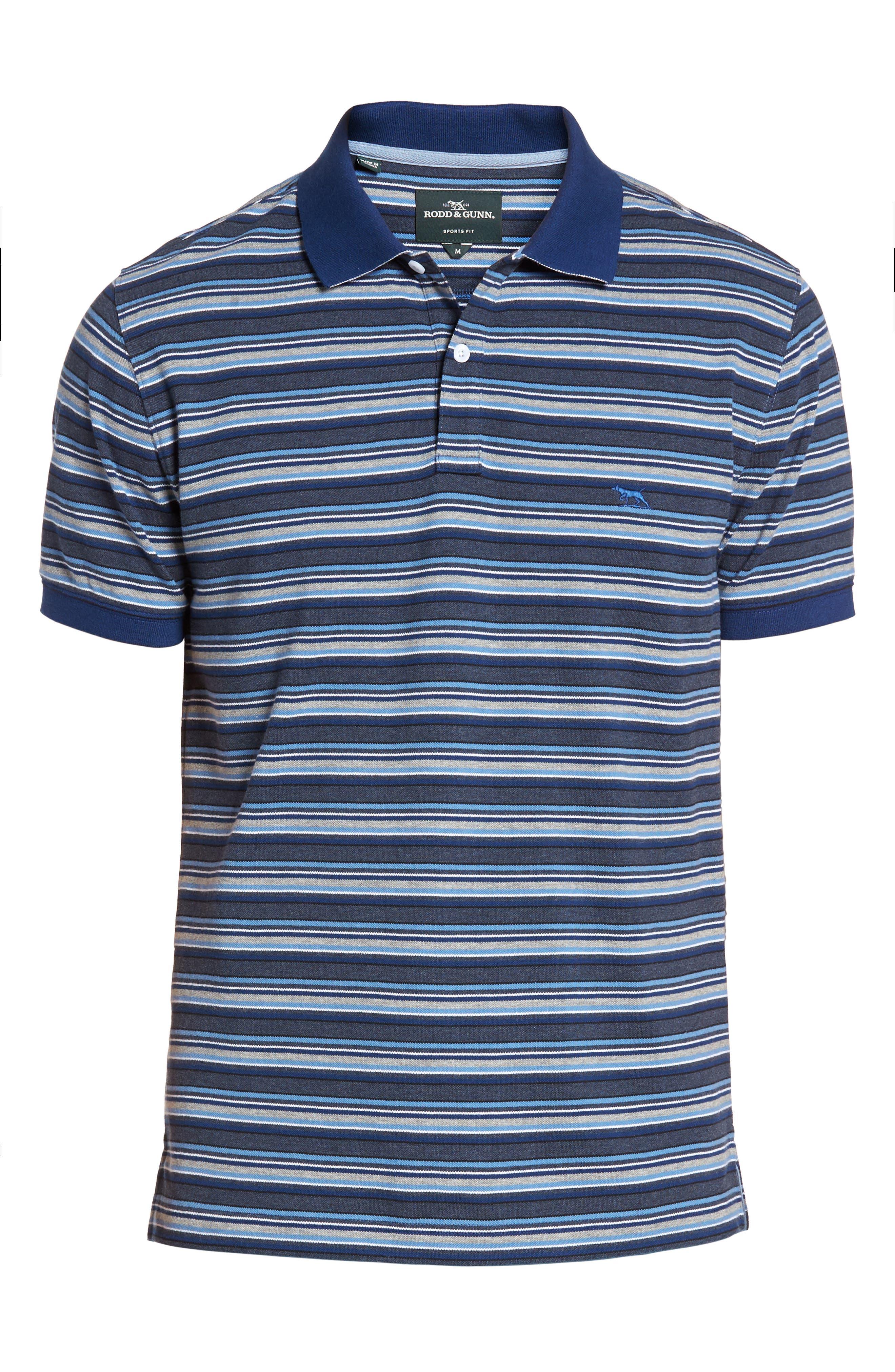 MacDonald Downs Sports Fit Stripe Piqué Polo,                             Alternate thumbnail 6, color,                             Denim