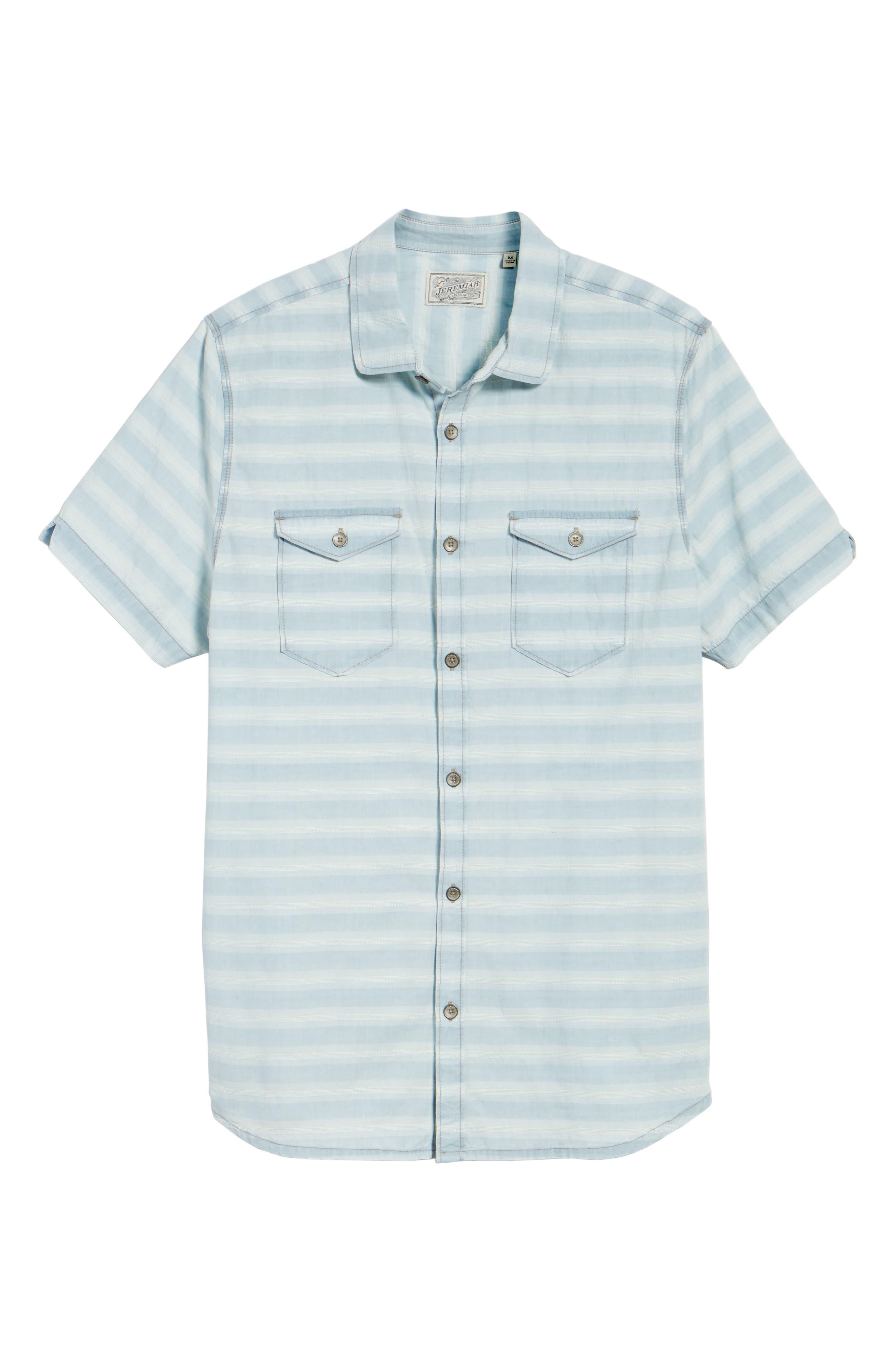 Abbott Regular Fit Dobby Stripe Sport Shirt,                             Alternate thumbnail 6, color,                             Cloud