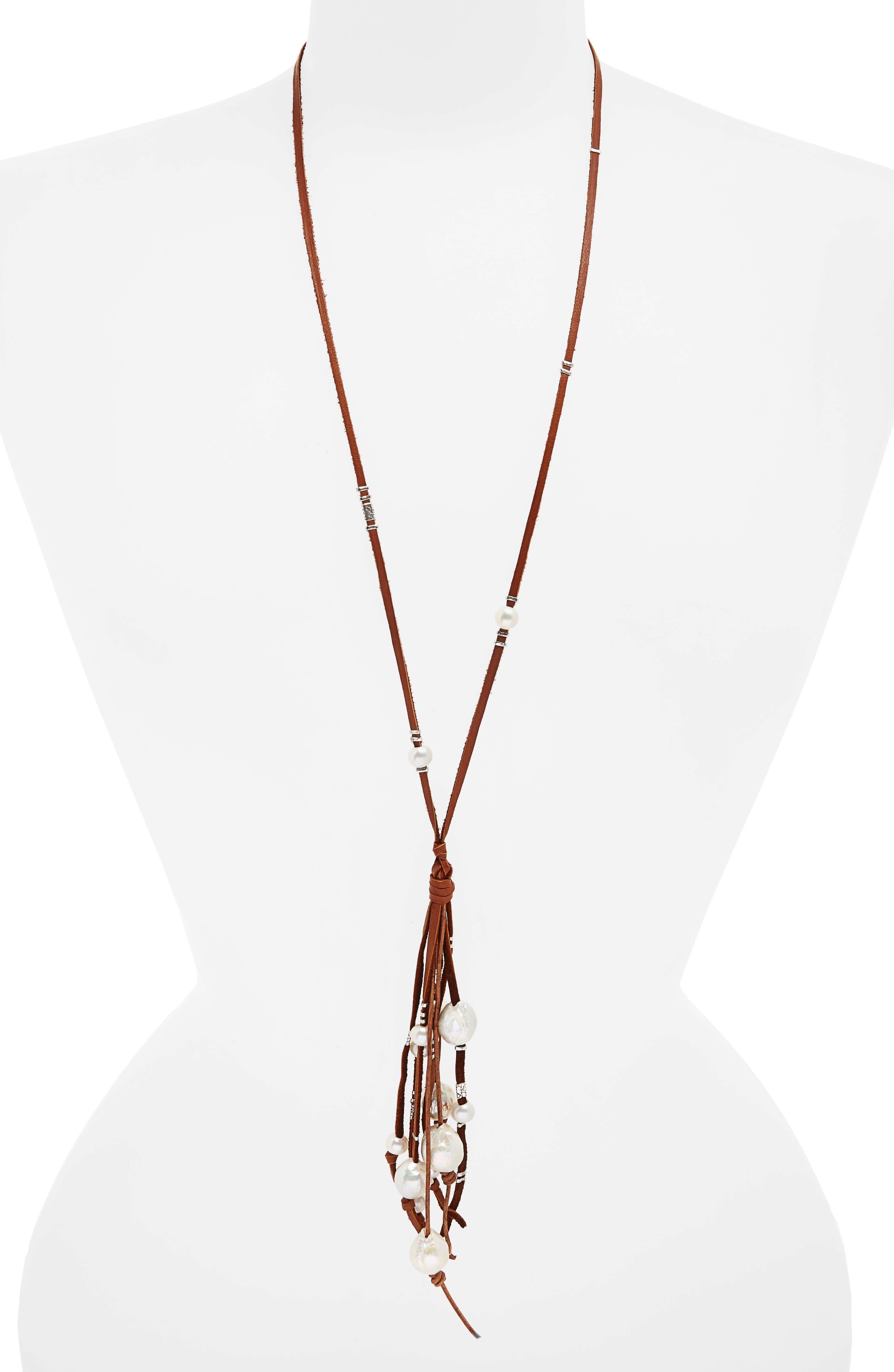 Chan Luu Pearl & Leather Tassel Necklace