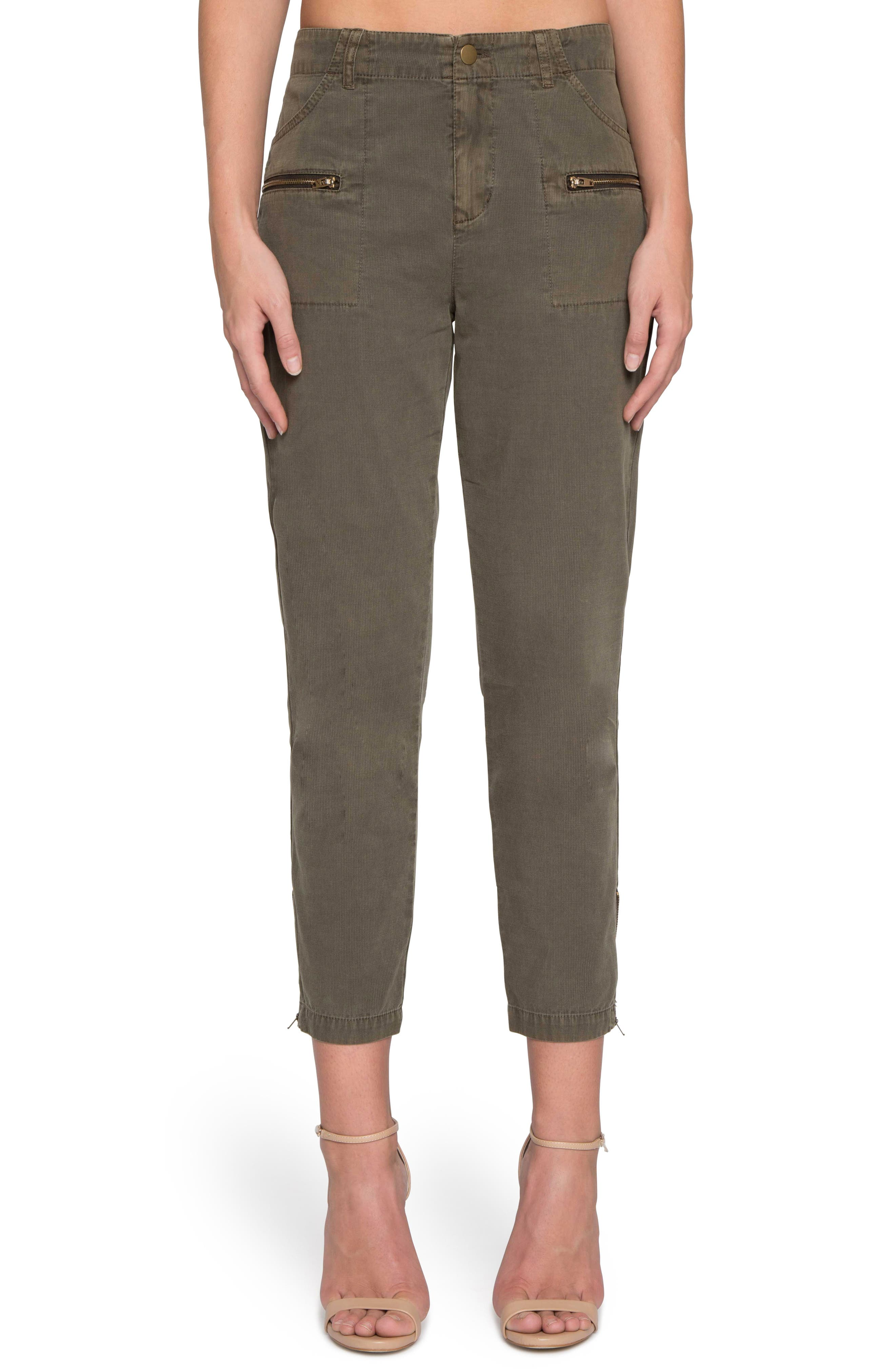 High Waist Crop Twill Pants,                         Main,                         color, Olive