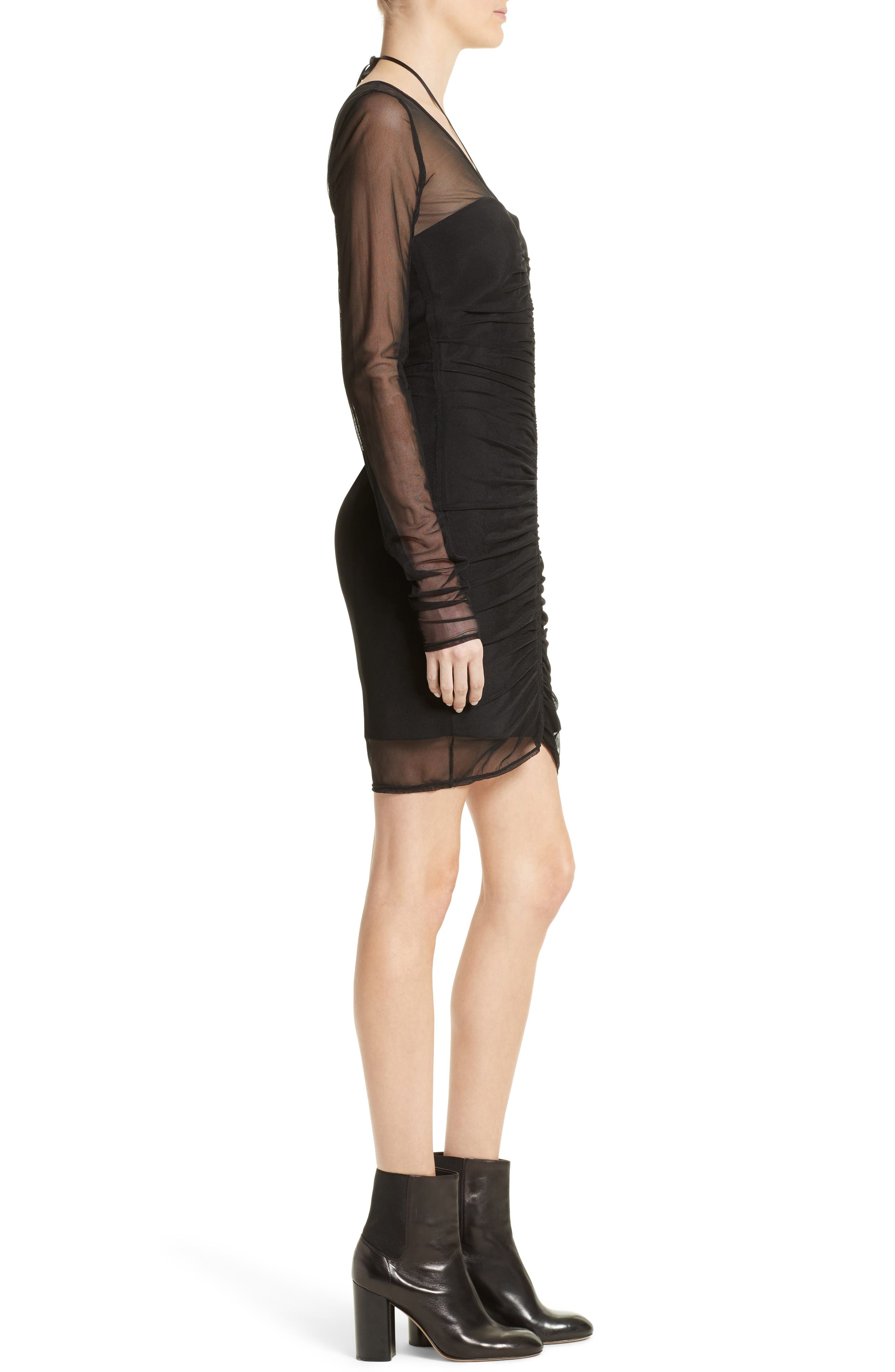 Grant Mesh Dress,                             Alternate thumbnail 3, color,                             Black