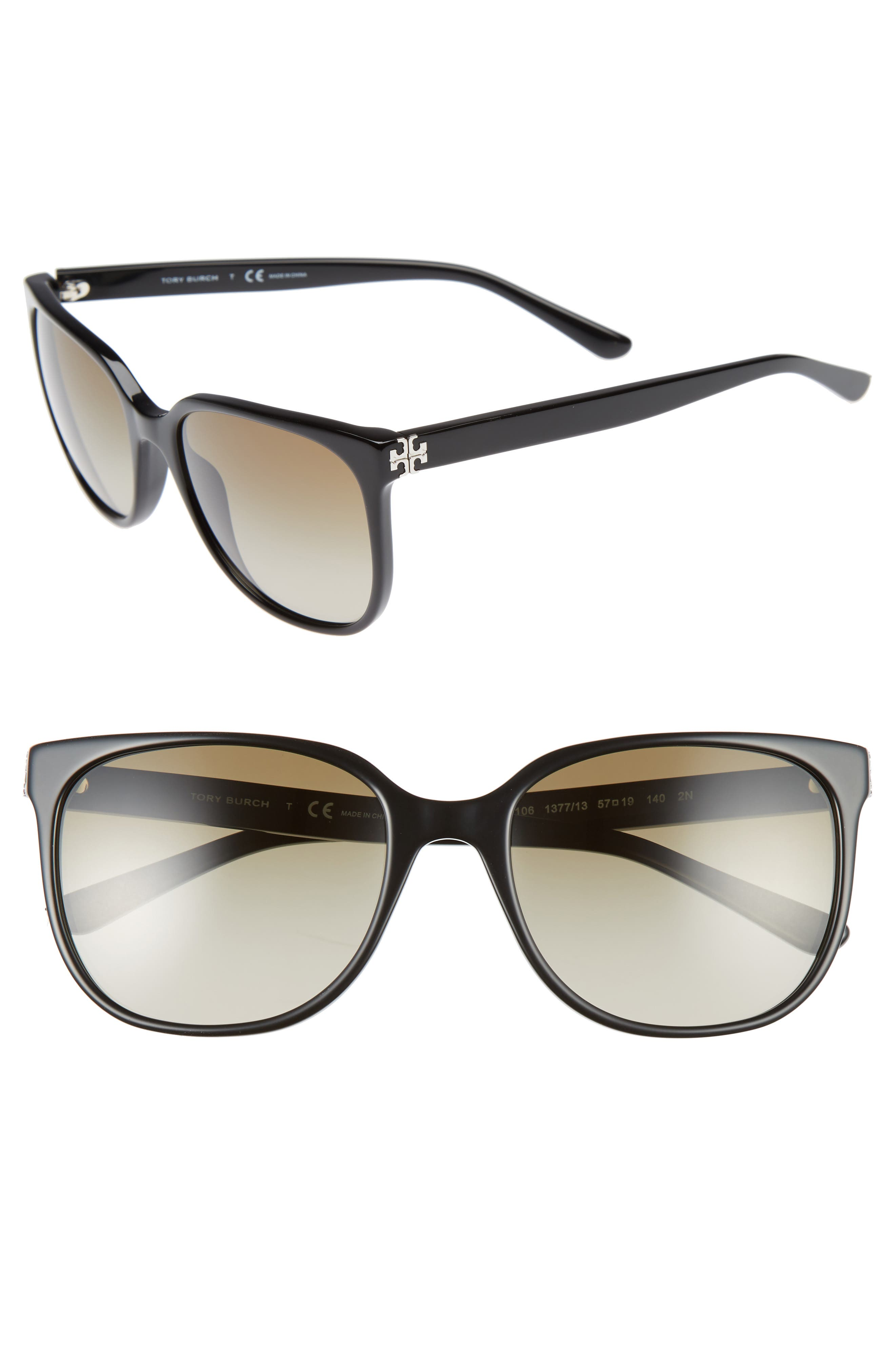 57mm Gradient Sunglasses,                         Main,                         color, Black