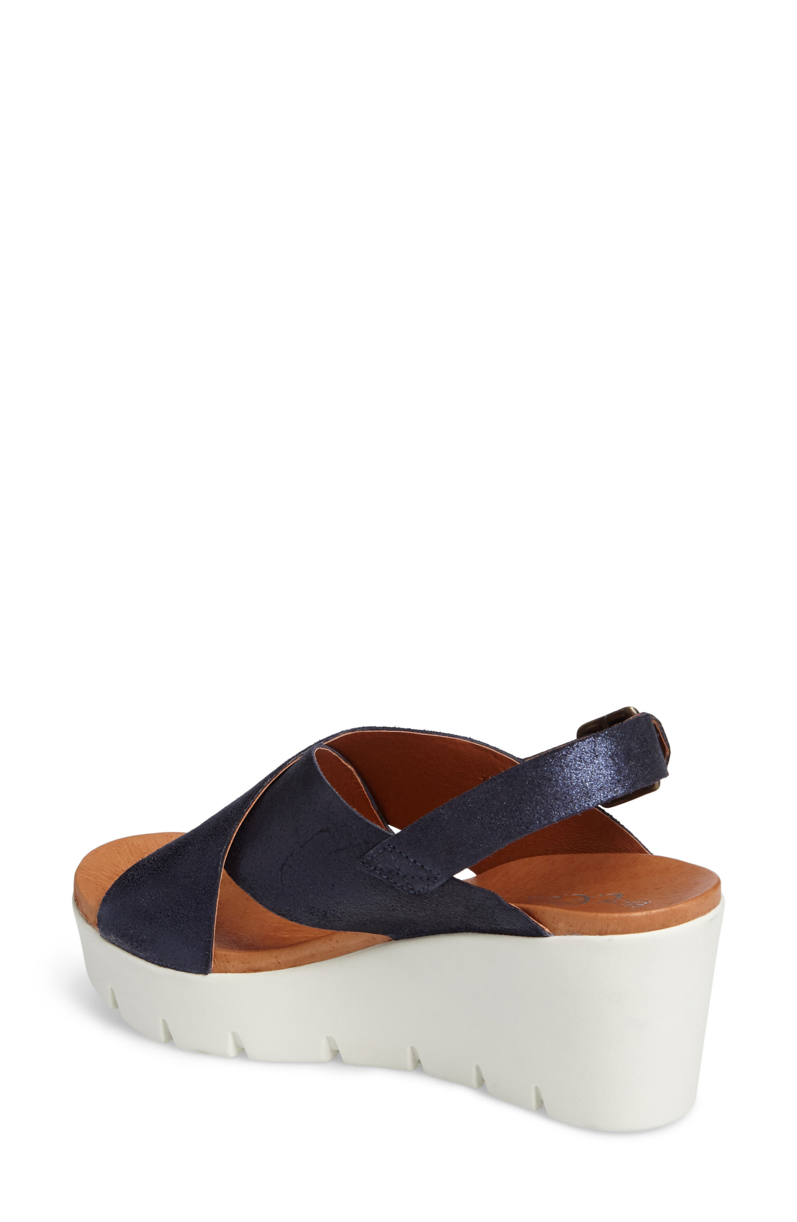 Payton Platform Wedge Sandal,                             Alternate thumbnail 2, color,                             Navy Glitter Suede