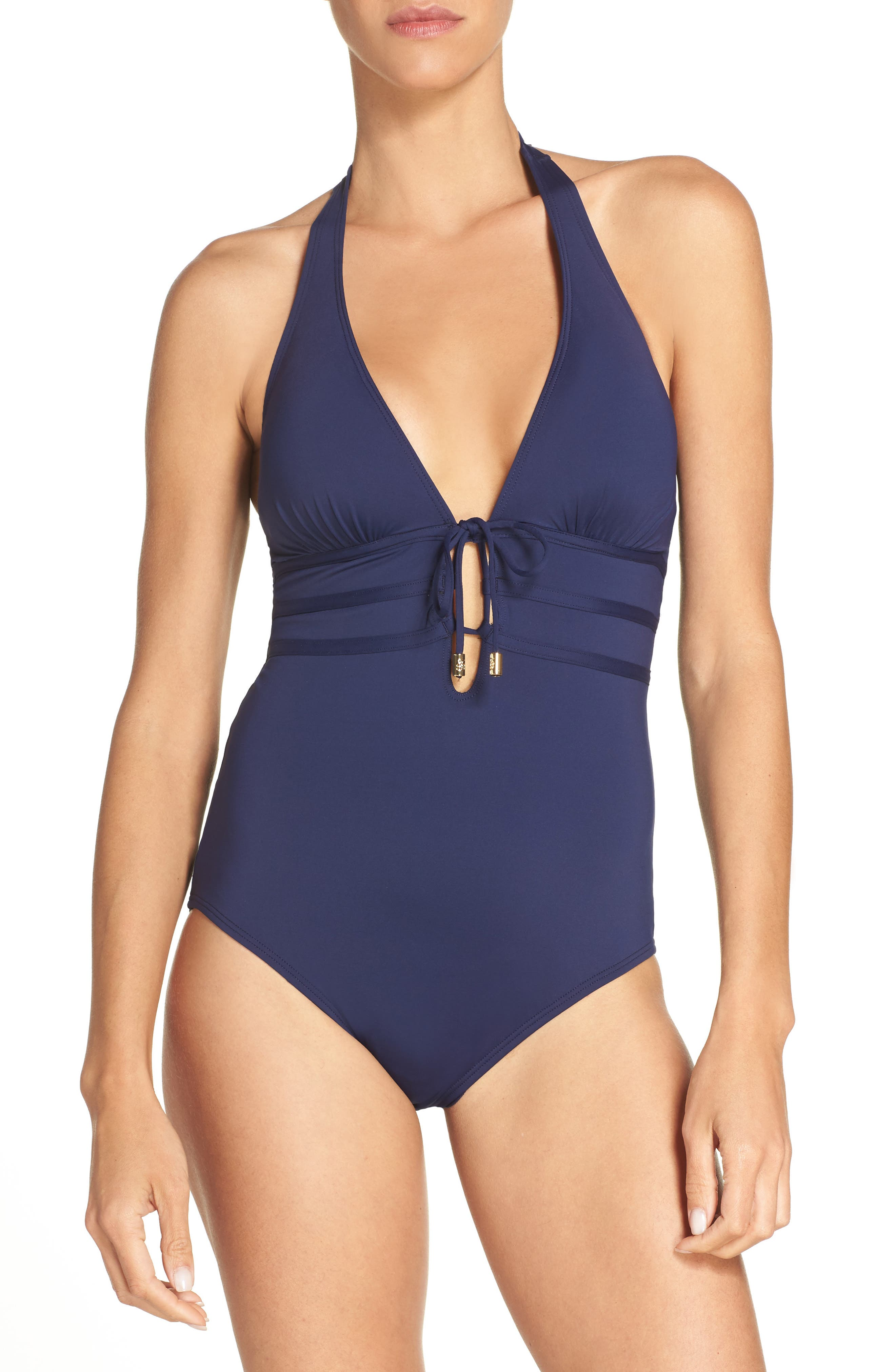 Pearl One-Piece Swimsuit,                         Main,                         color, Mare Navy