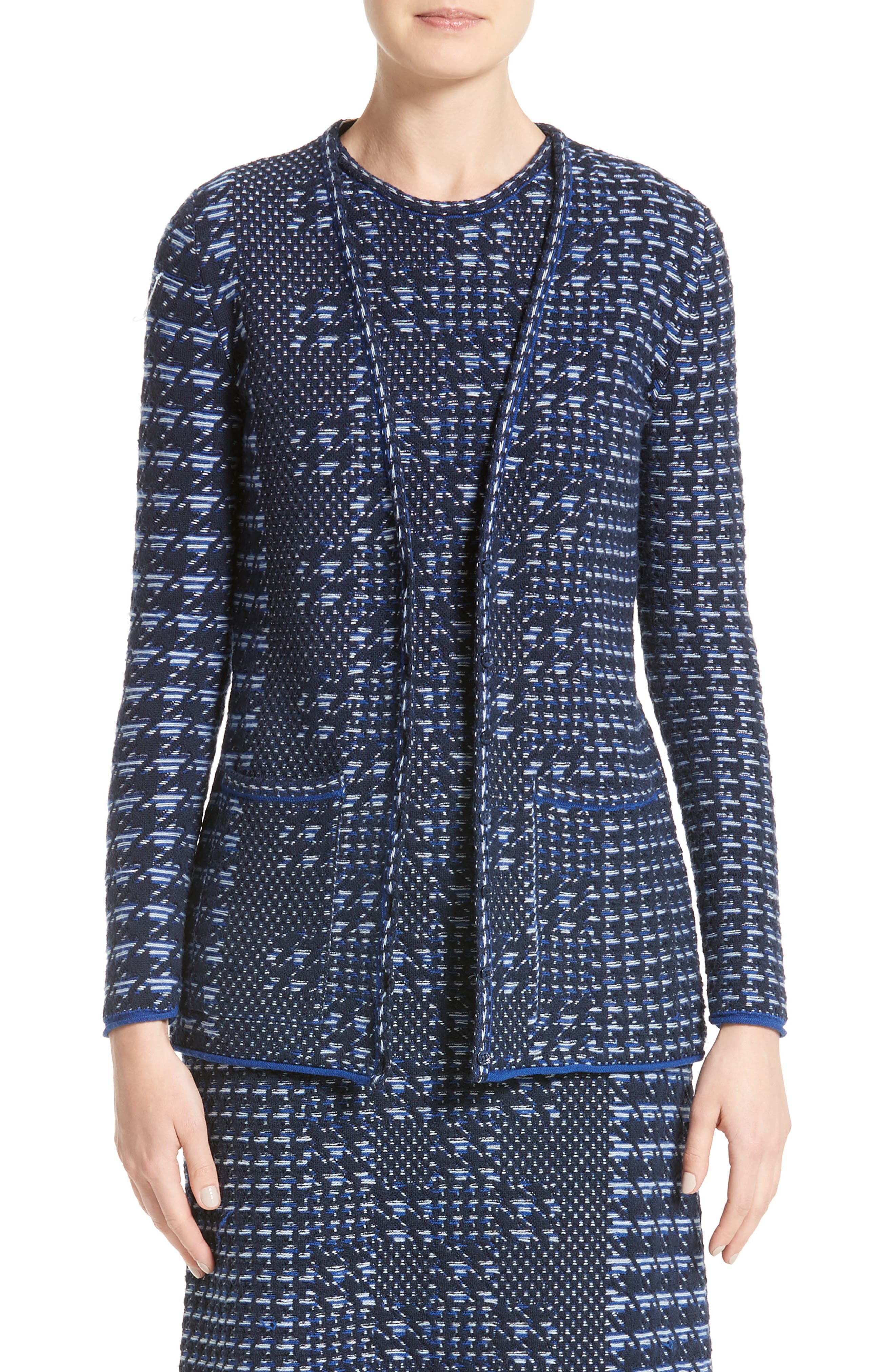 Oscar de la Renta Pixelated Houndstooth Cardigan