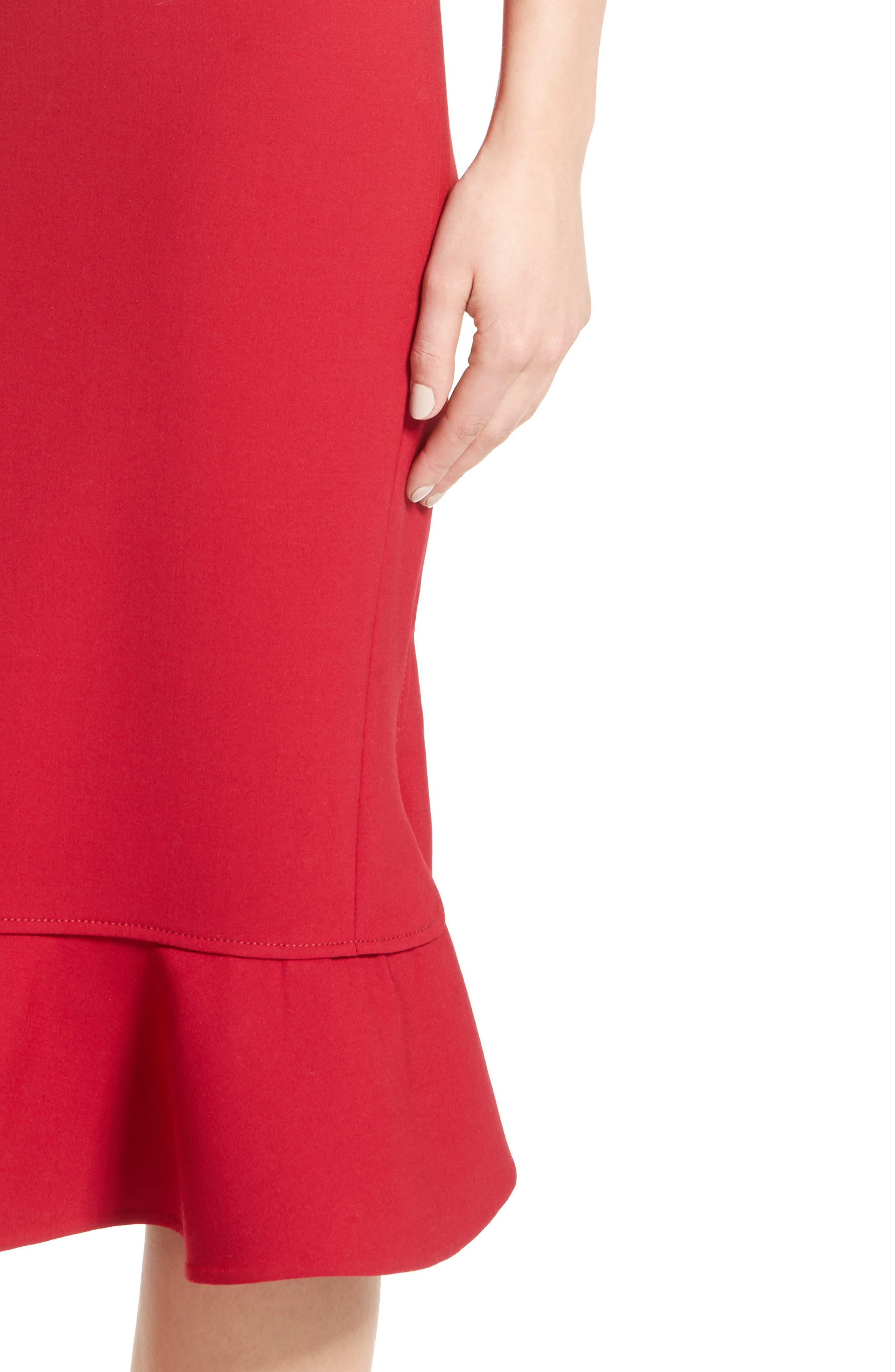 Stretch Crepe Sheath Dress,                             Alternate thumbnail 5, color,                             Garnet