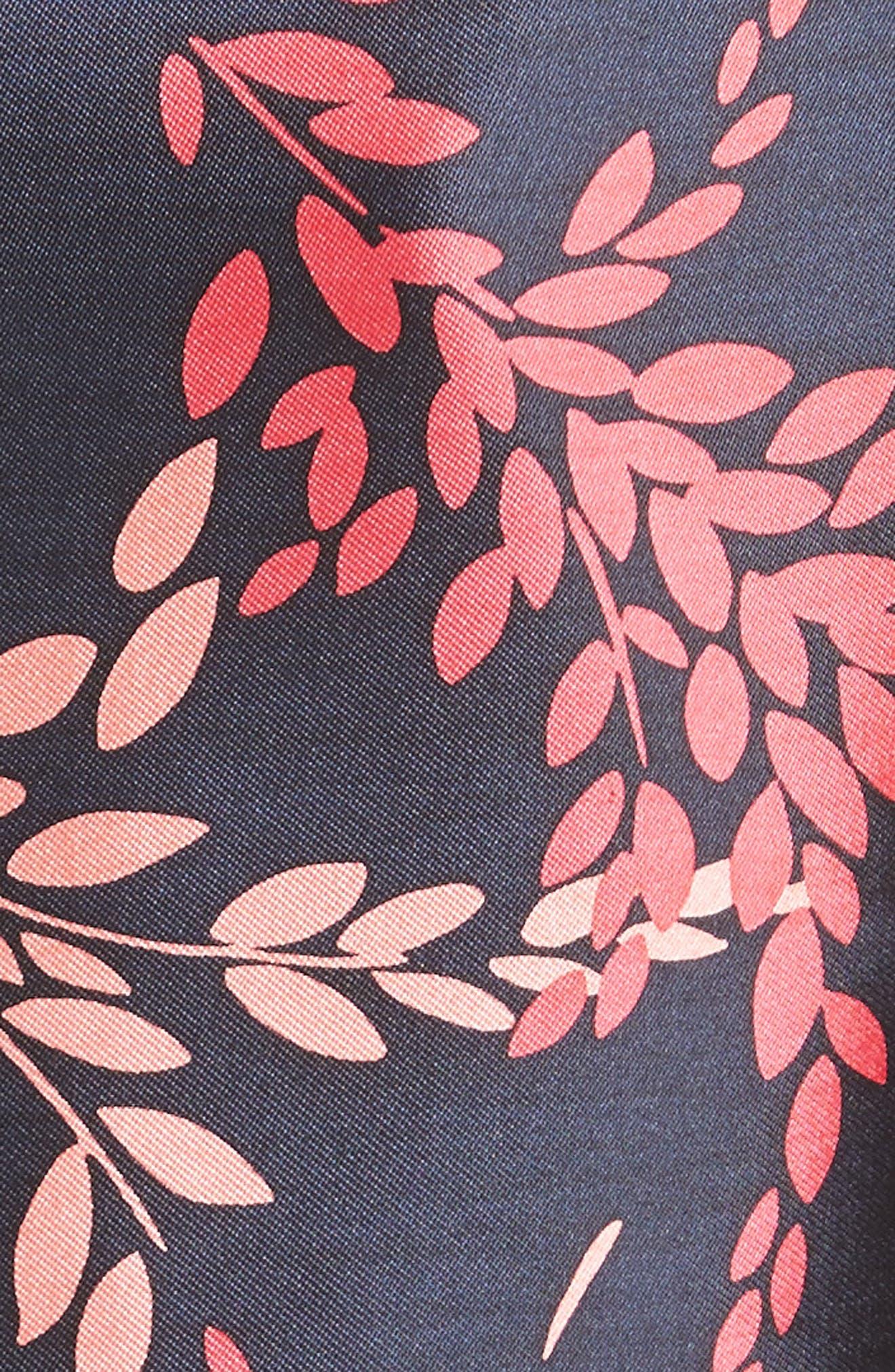 Leaf Print Silk & Cotton Dress,                             Alternate thumbnail 3, color,                             Navy/ Tourmaline