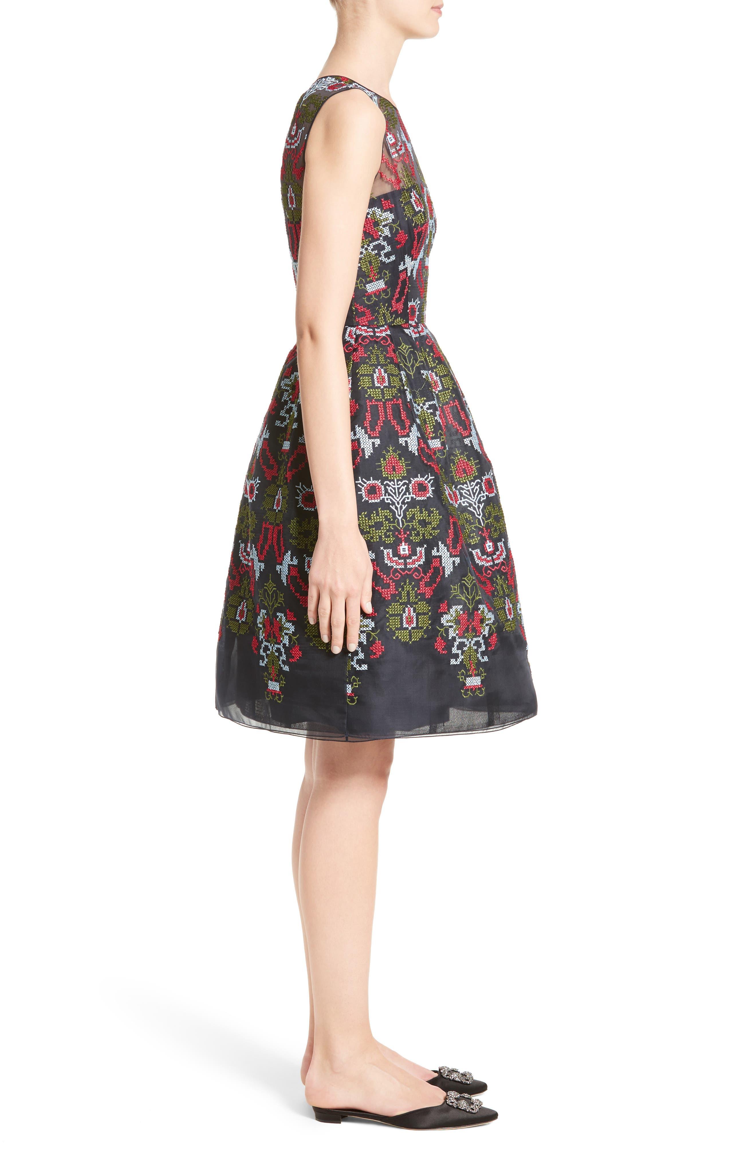 Alternate Image 5  - Oscar de la Renta Needlepoint Fit & Flare Dress