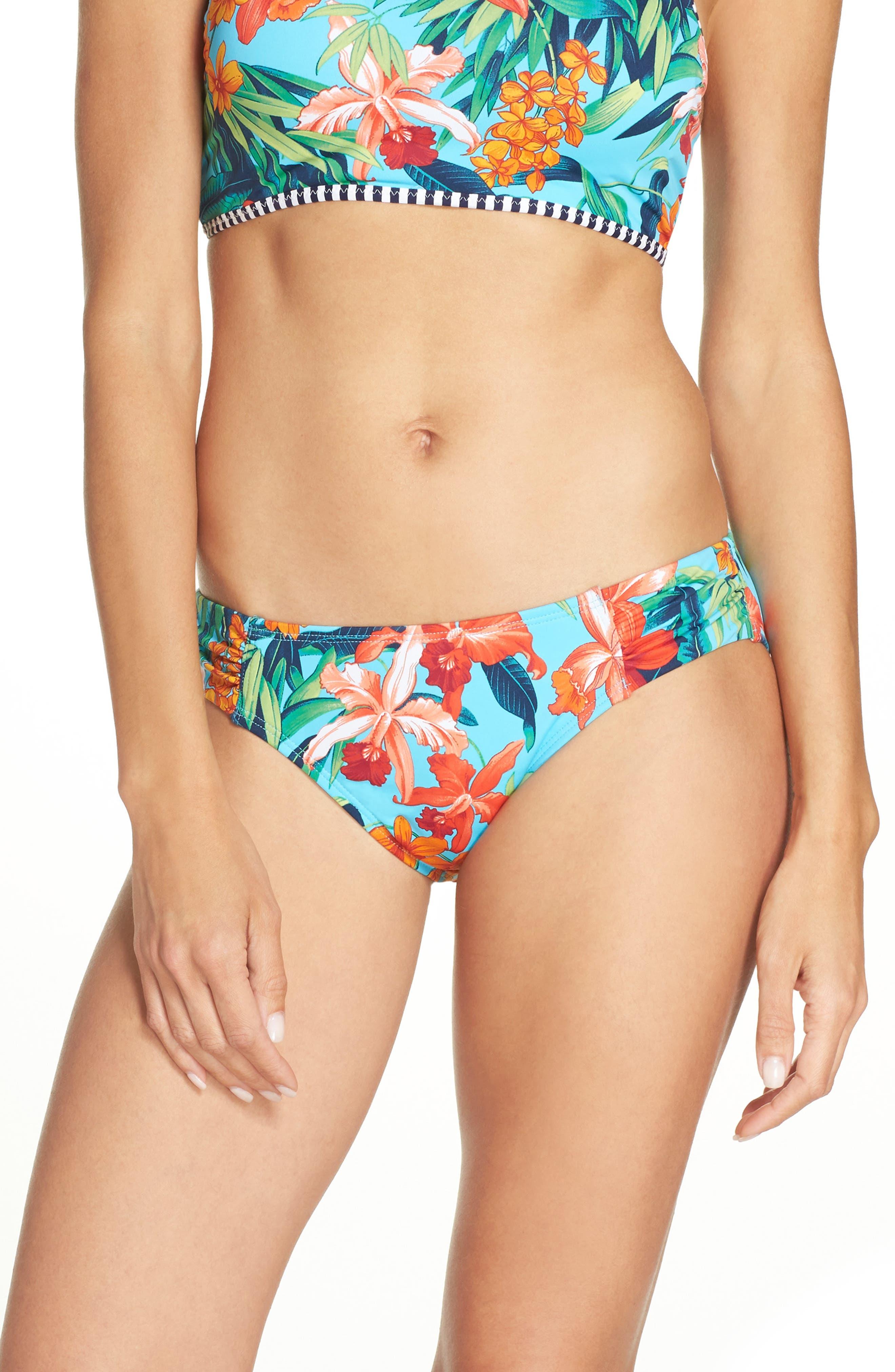 Tommy Bahama Floriana Side Shirred Hipster Bikini Bottoms