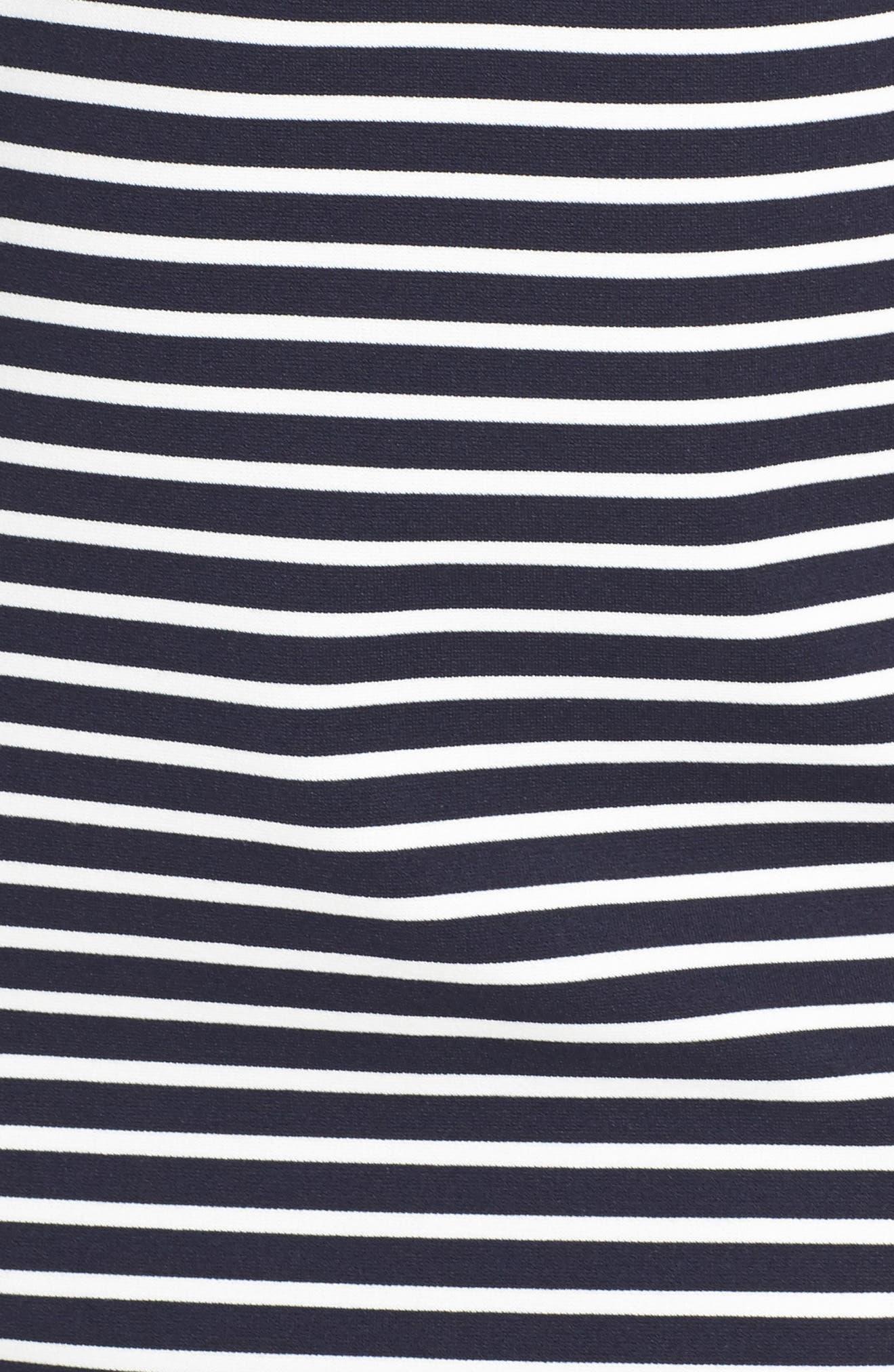 Stripe Stretch Knit Sheath,                             Alternate thumbnail 5, color,                             Striped Ponte