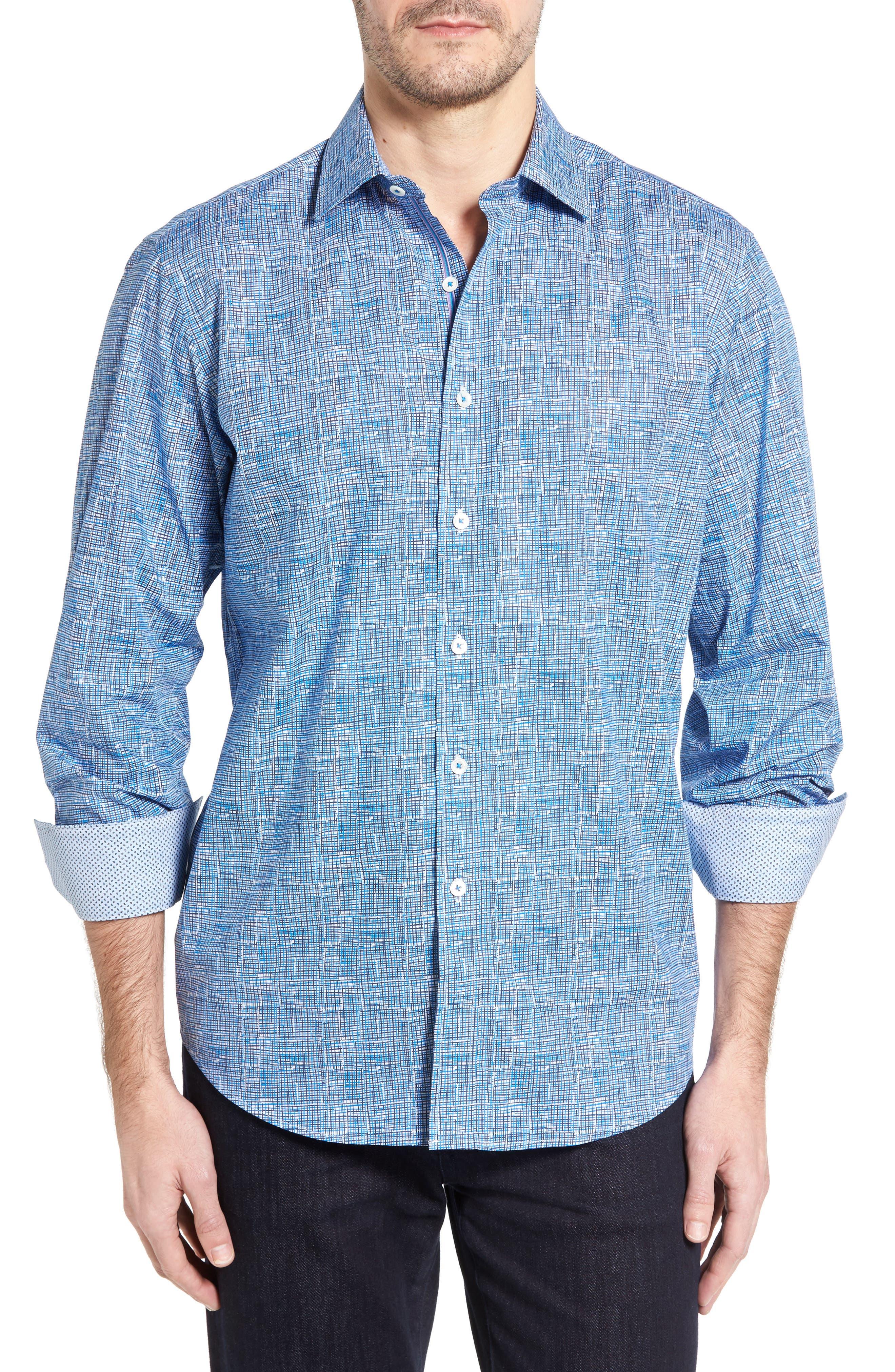 BUGATCHI Classic Fit Weave Print Sport Shirt