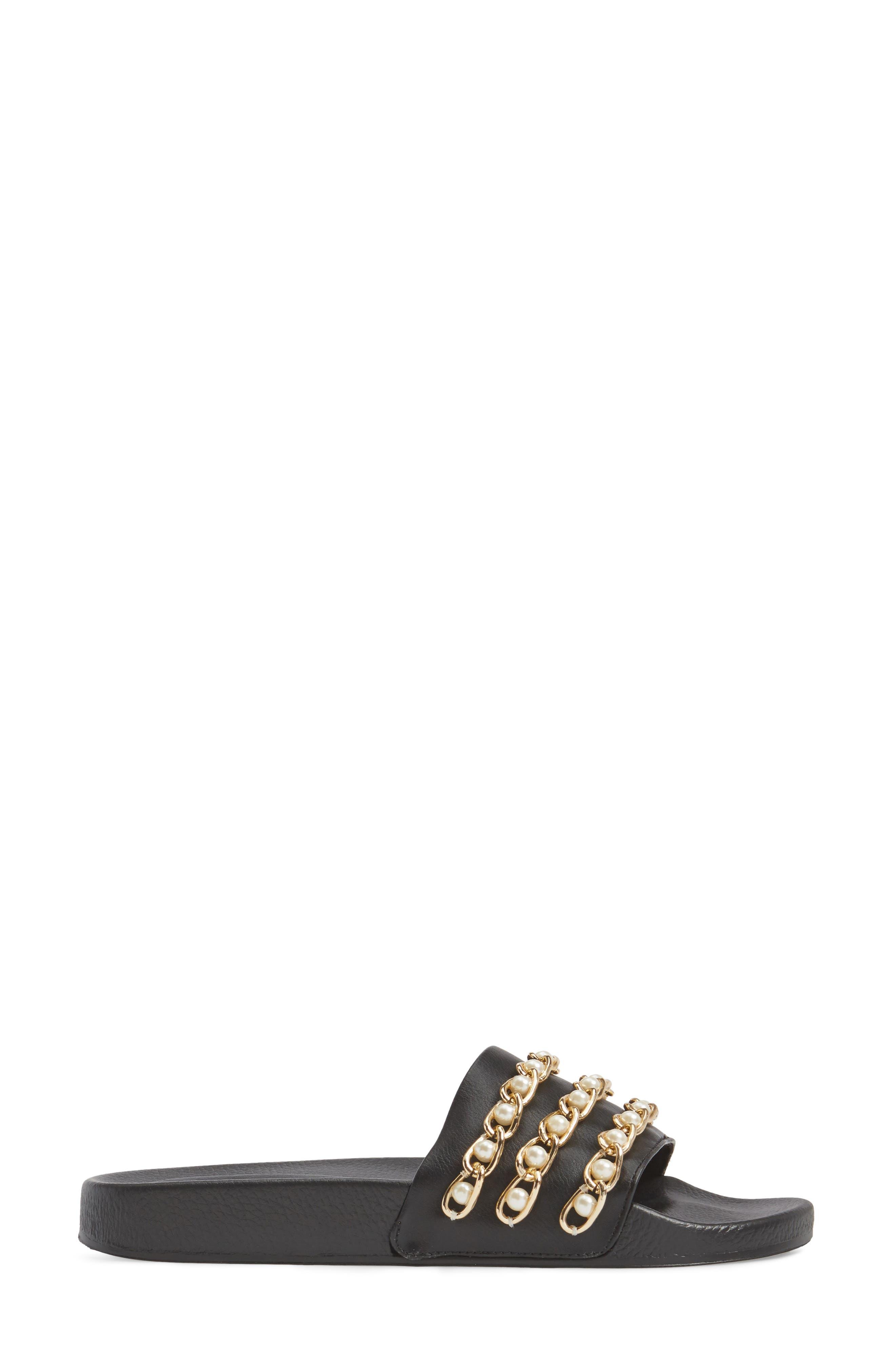 Hottie Pearl Chain Slide Sandal,                             Alternate thumbnail 3, color,                             Black Multi
