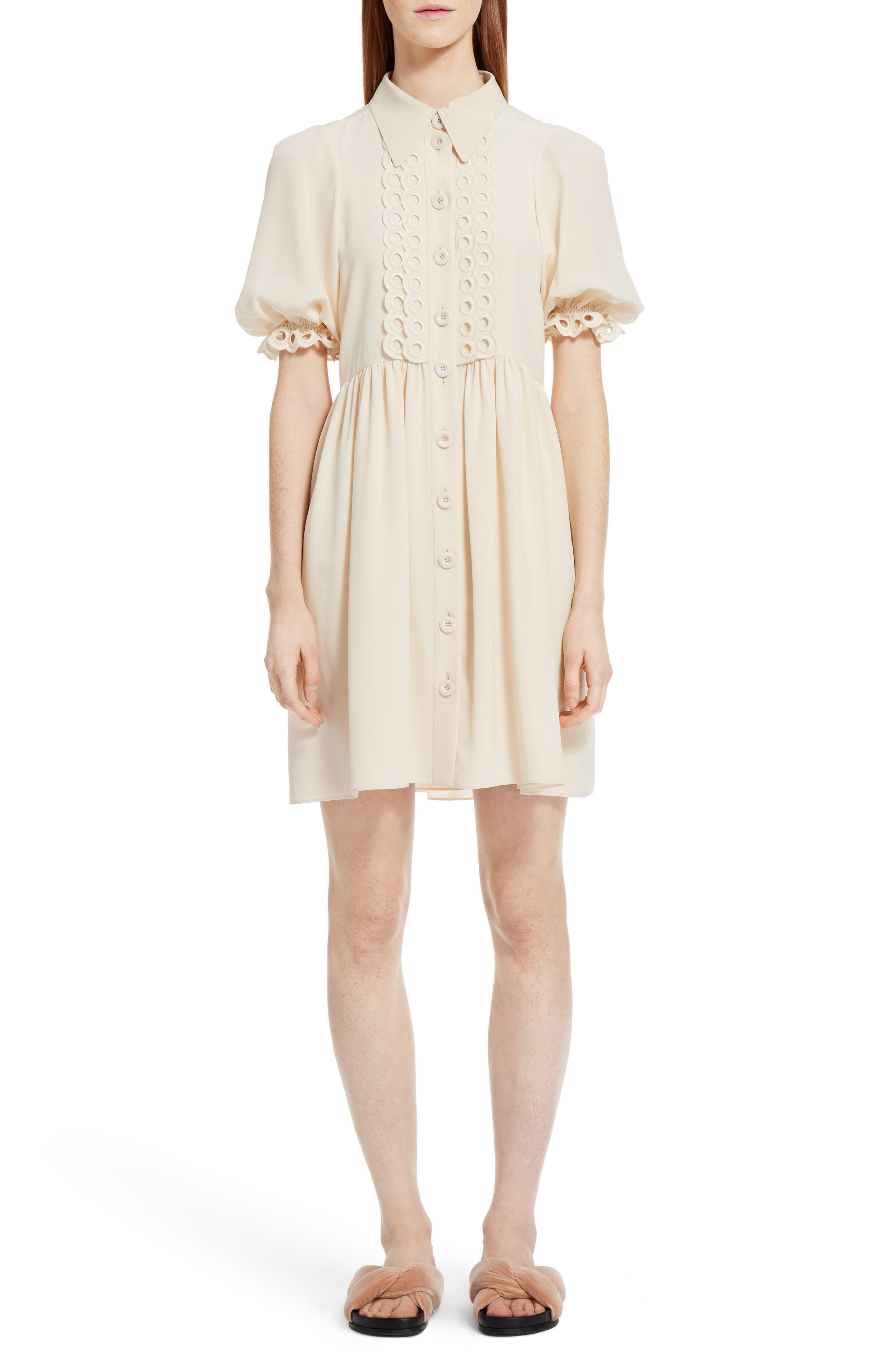 Eyelet Silk Shirtdress,                         Main,                         color, Beige