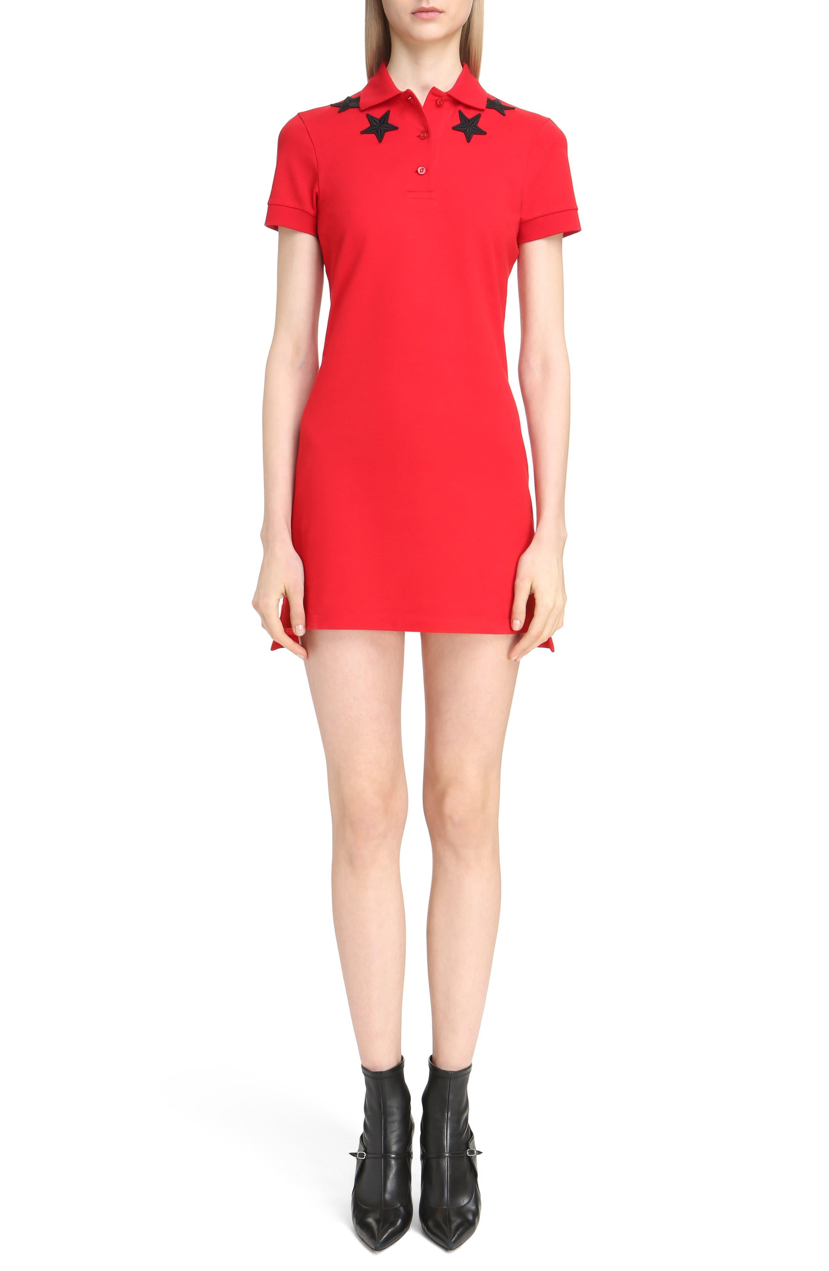 Star Embellished Polo Dress,                         Main,                         color, Red/ Black