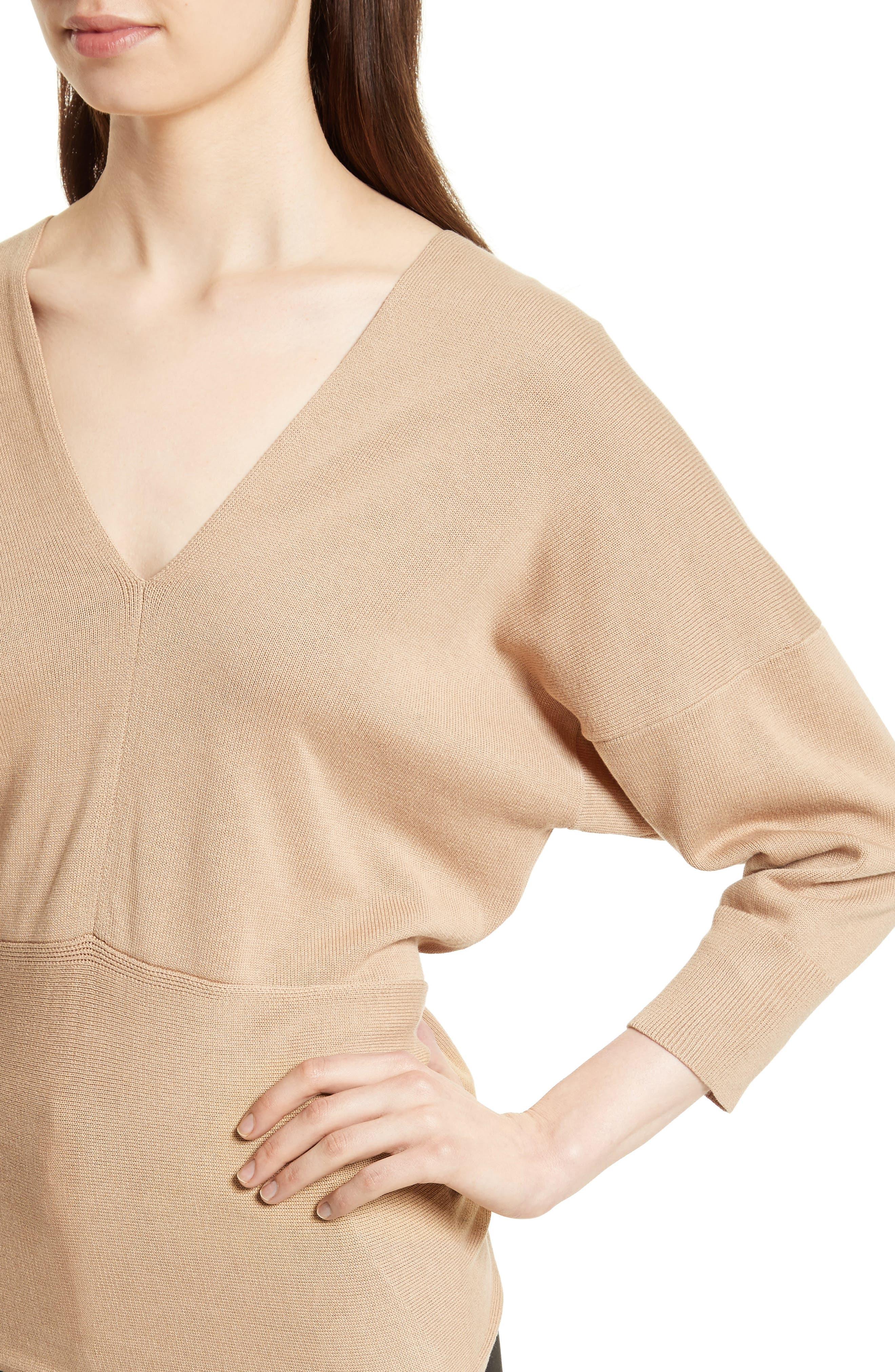 Tie Detail V-Neck Sweater,                             Alternate thumbnail 4, color,                             Sand