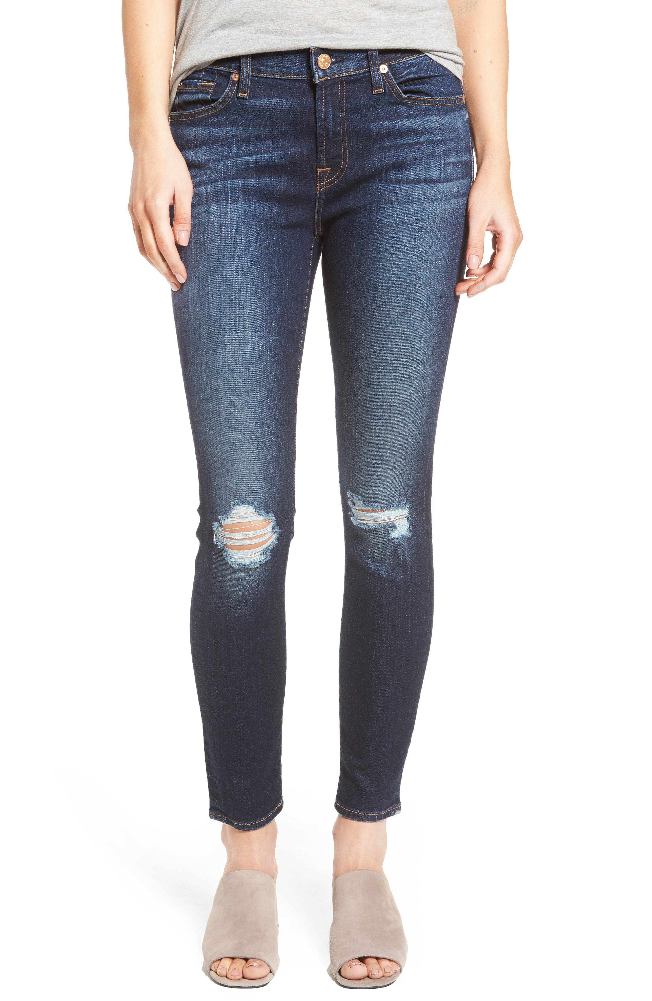 Alternate Image 1 Selected - 7 For All Mankind® Ankle Skinny Jeans (Dark Paradise)
