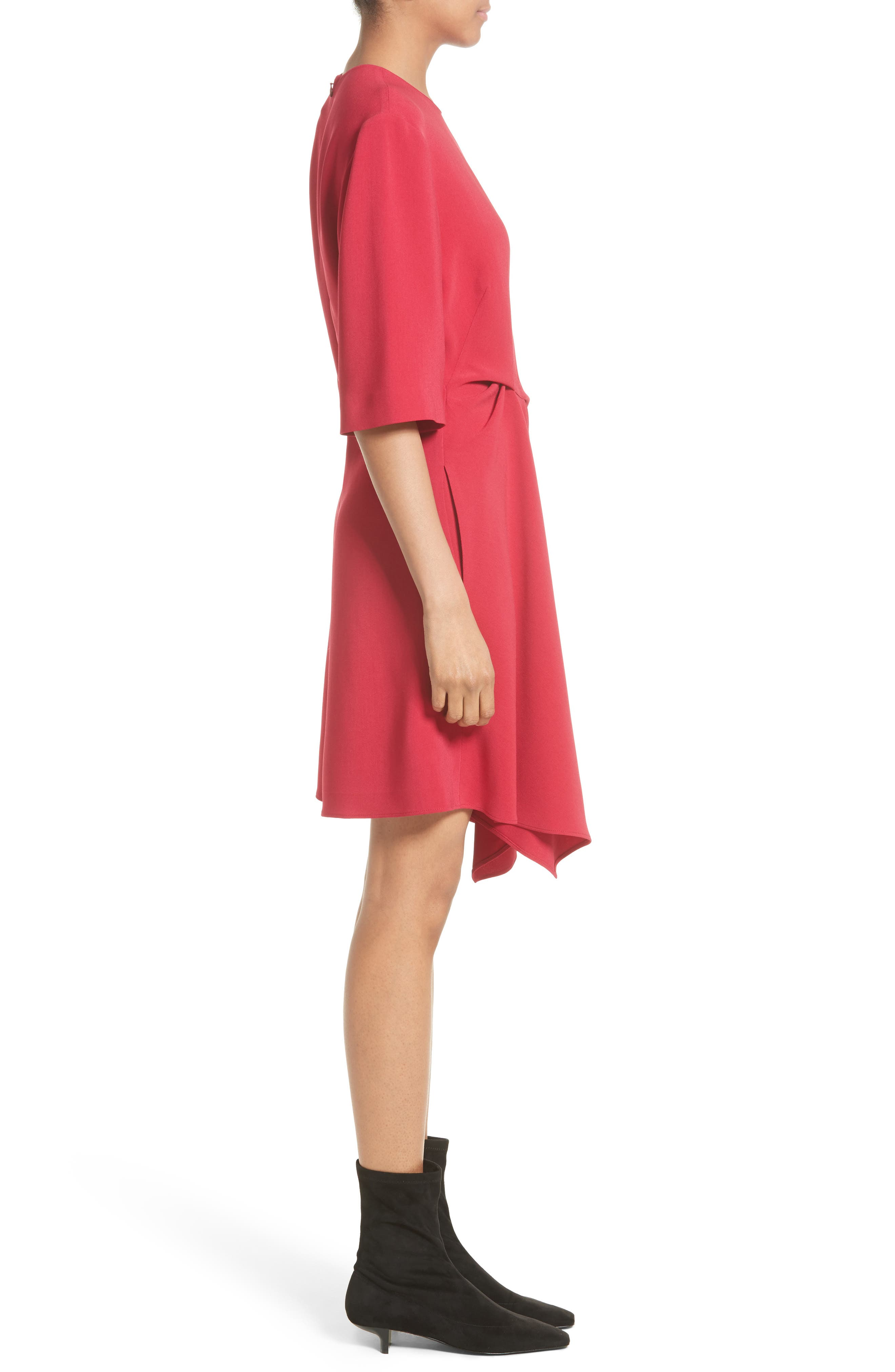 Draped Stretch Cady Dress,                             Alternate thumbnail 4, color,                             Hot Pink