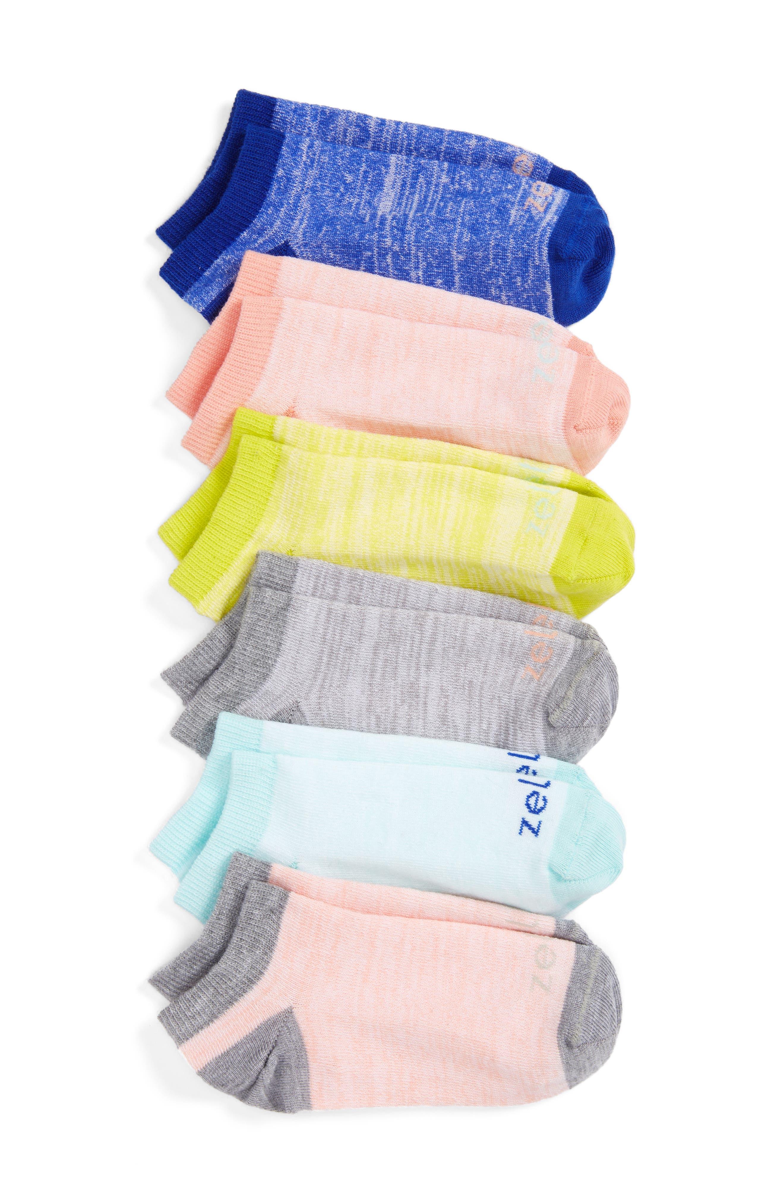 6-Pack Ankle Socks,                         Main,                         color, Pink Salt