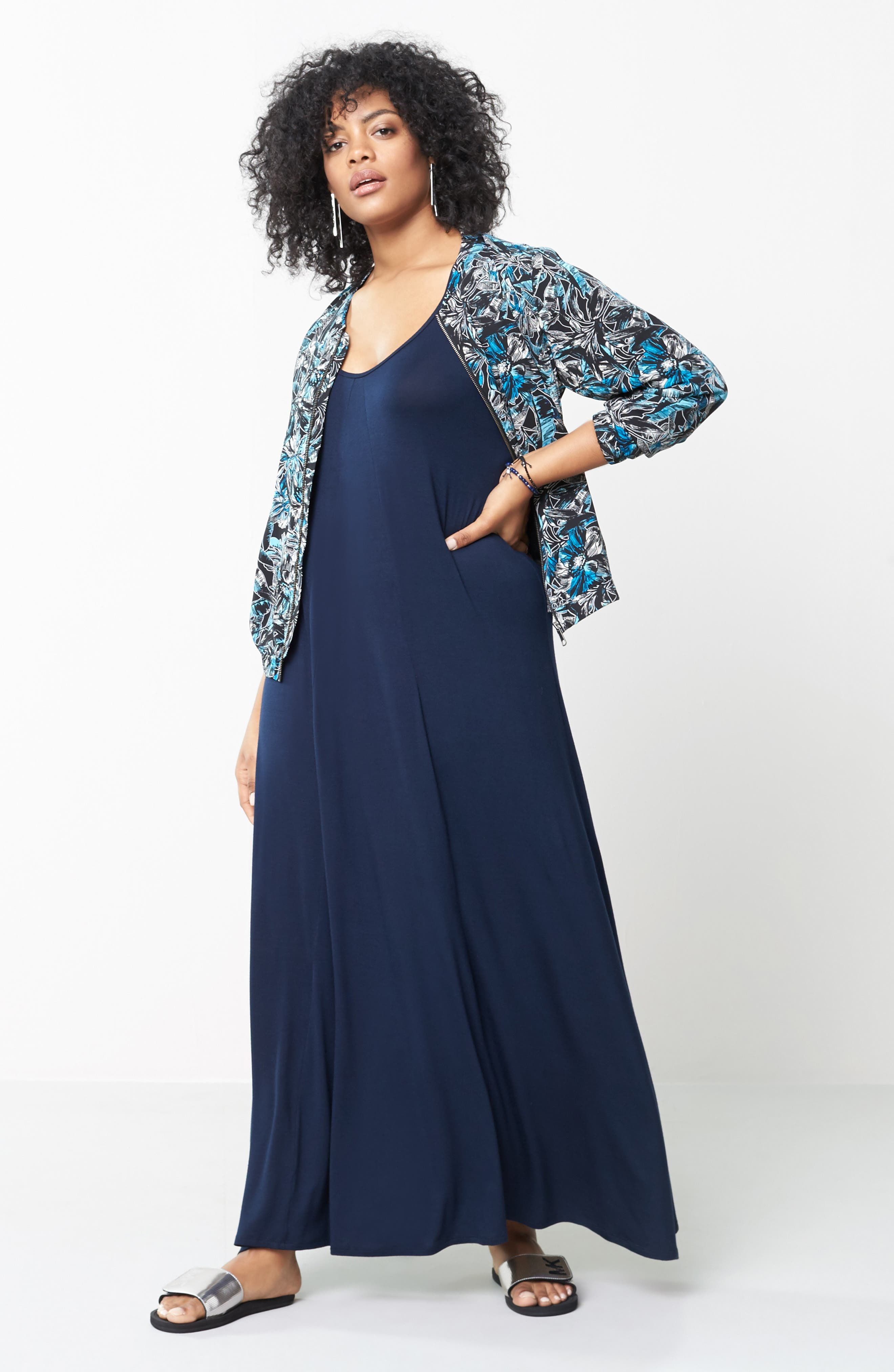 A-Line Maxi Dress,                             Alternate thumbnail 2, color,                             Midnight