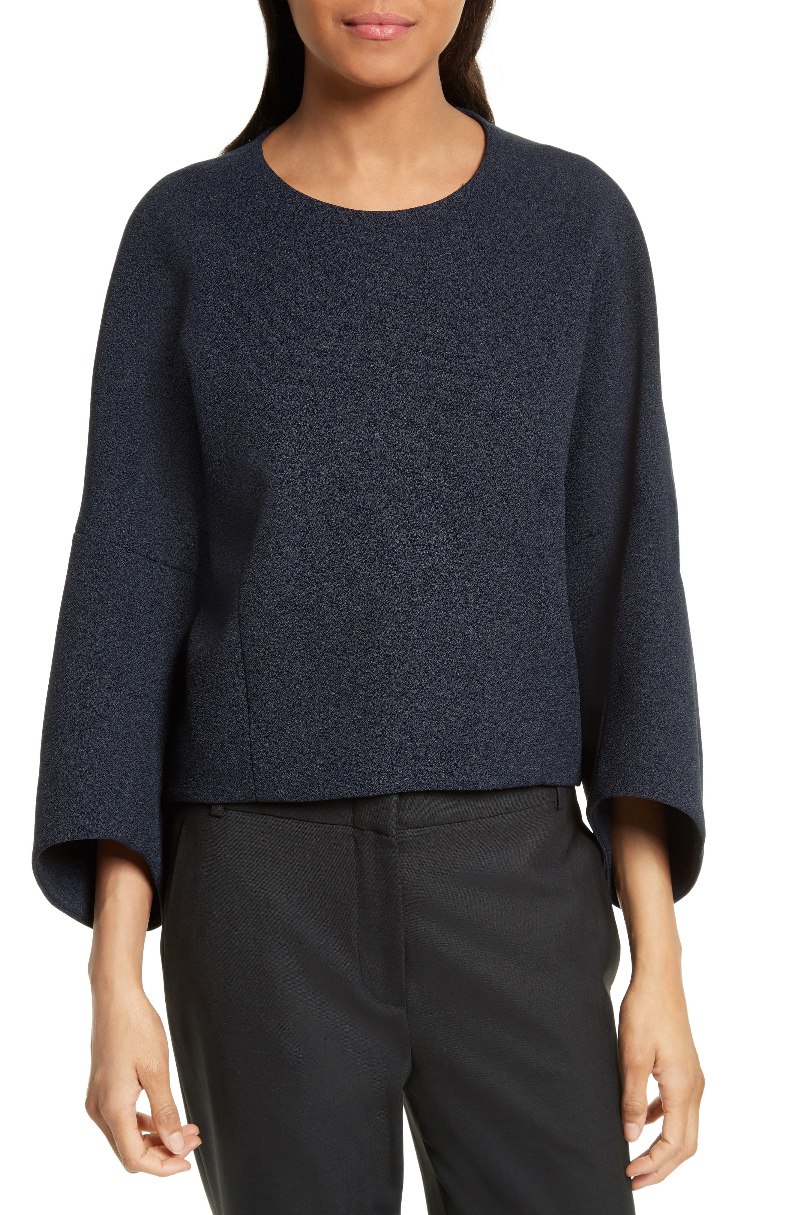 Mica Sculpted Crepe Top,                         Main,                         color, Navy