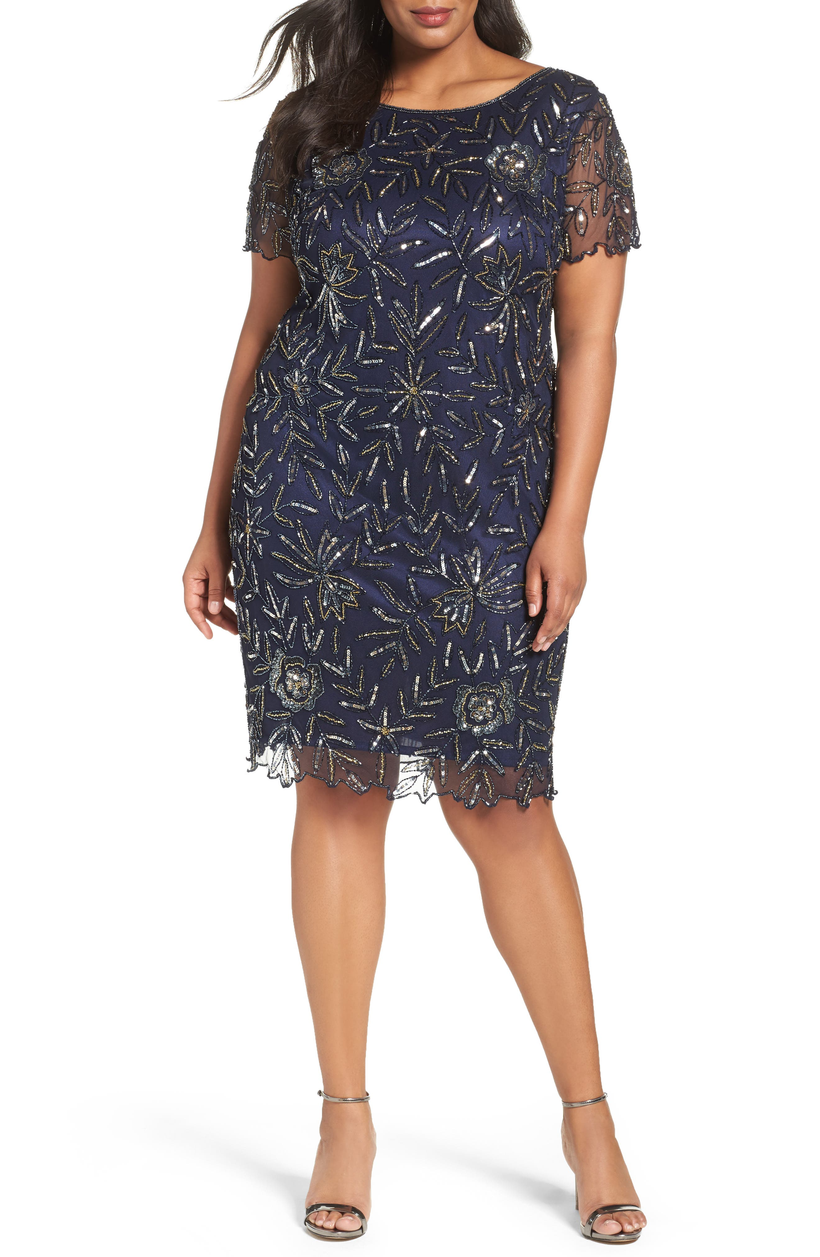 Embellished Chiffon Cocktail Dress,                         Main,                         color, Navy