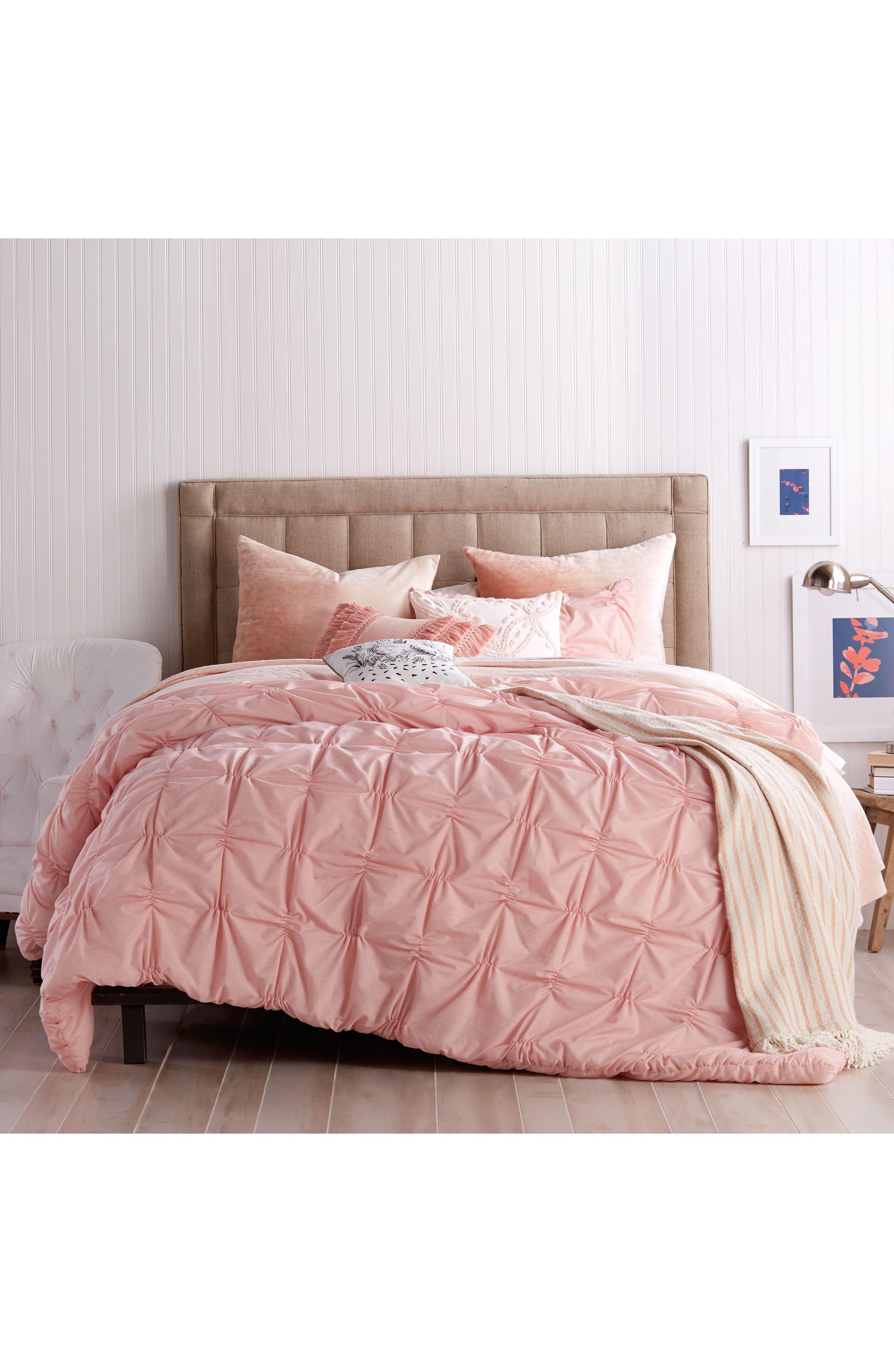 Check Smocked Comforter & Sham Set,                         Main,                         color, Blush