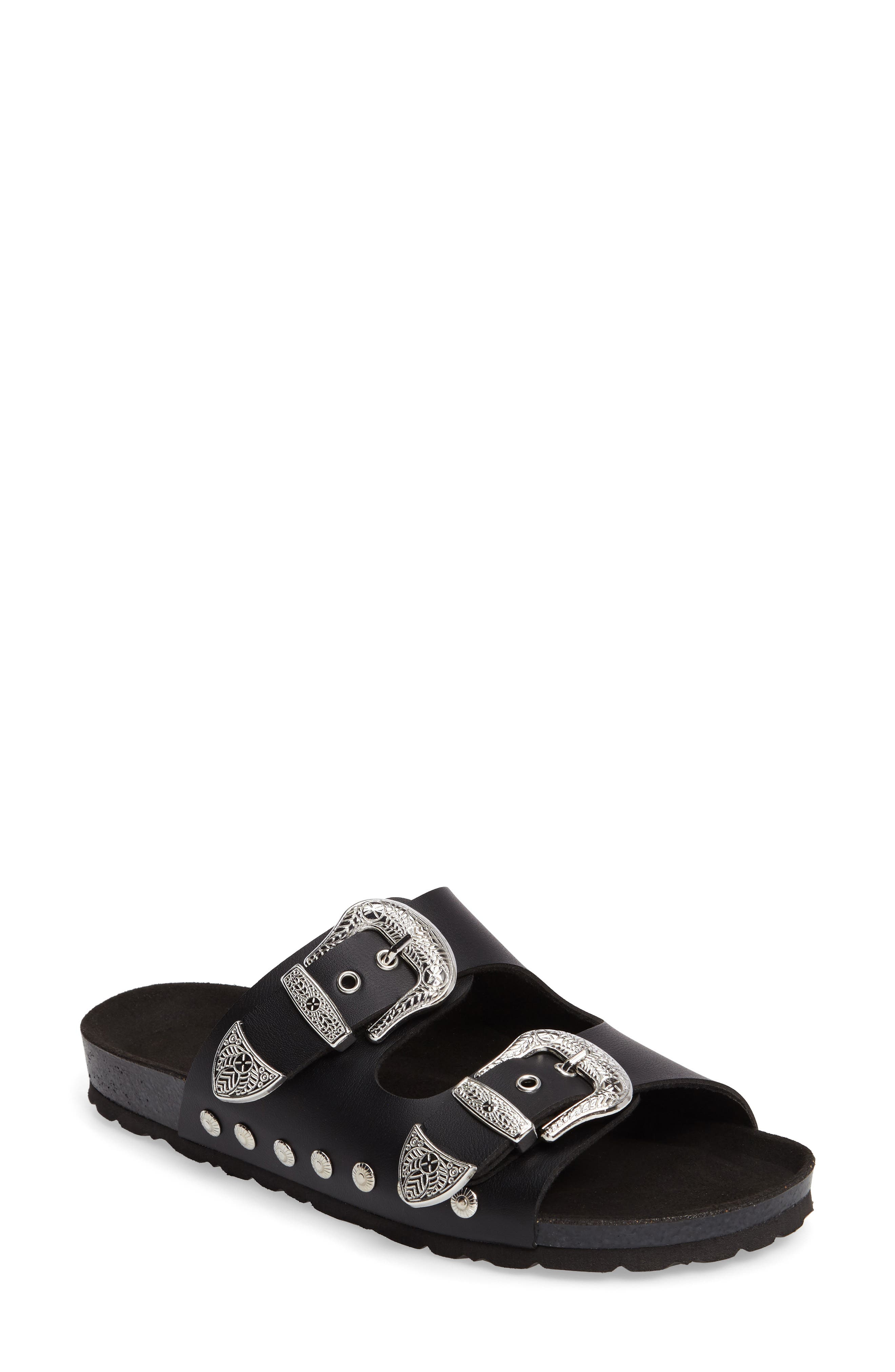 Studded Slide Sandal,                             Main thumbnail 1, color,                             Black