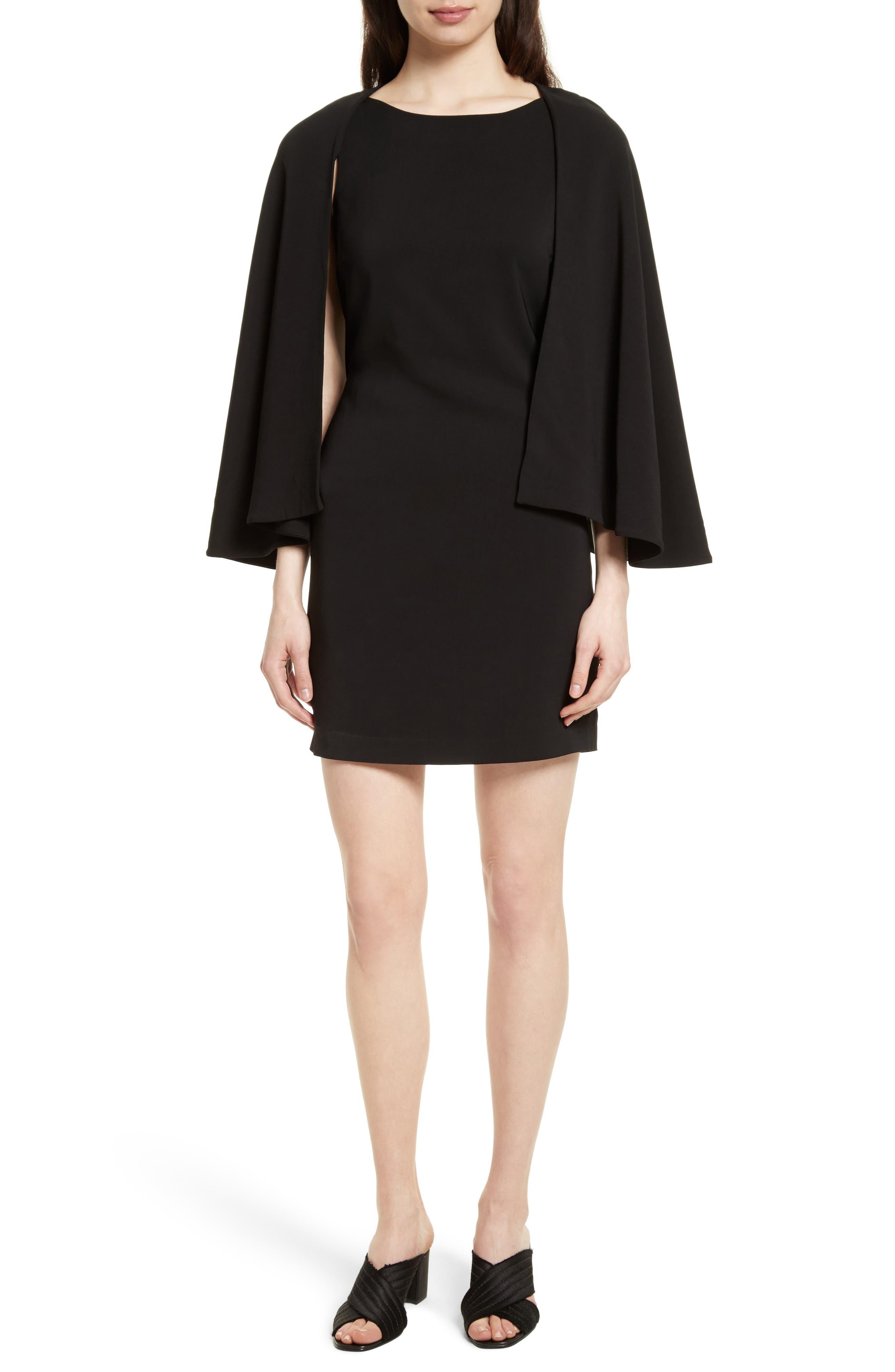 Cape Shift Dress,                         Main,                         color, Black